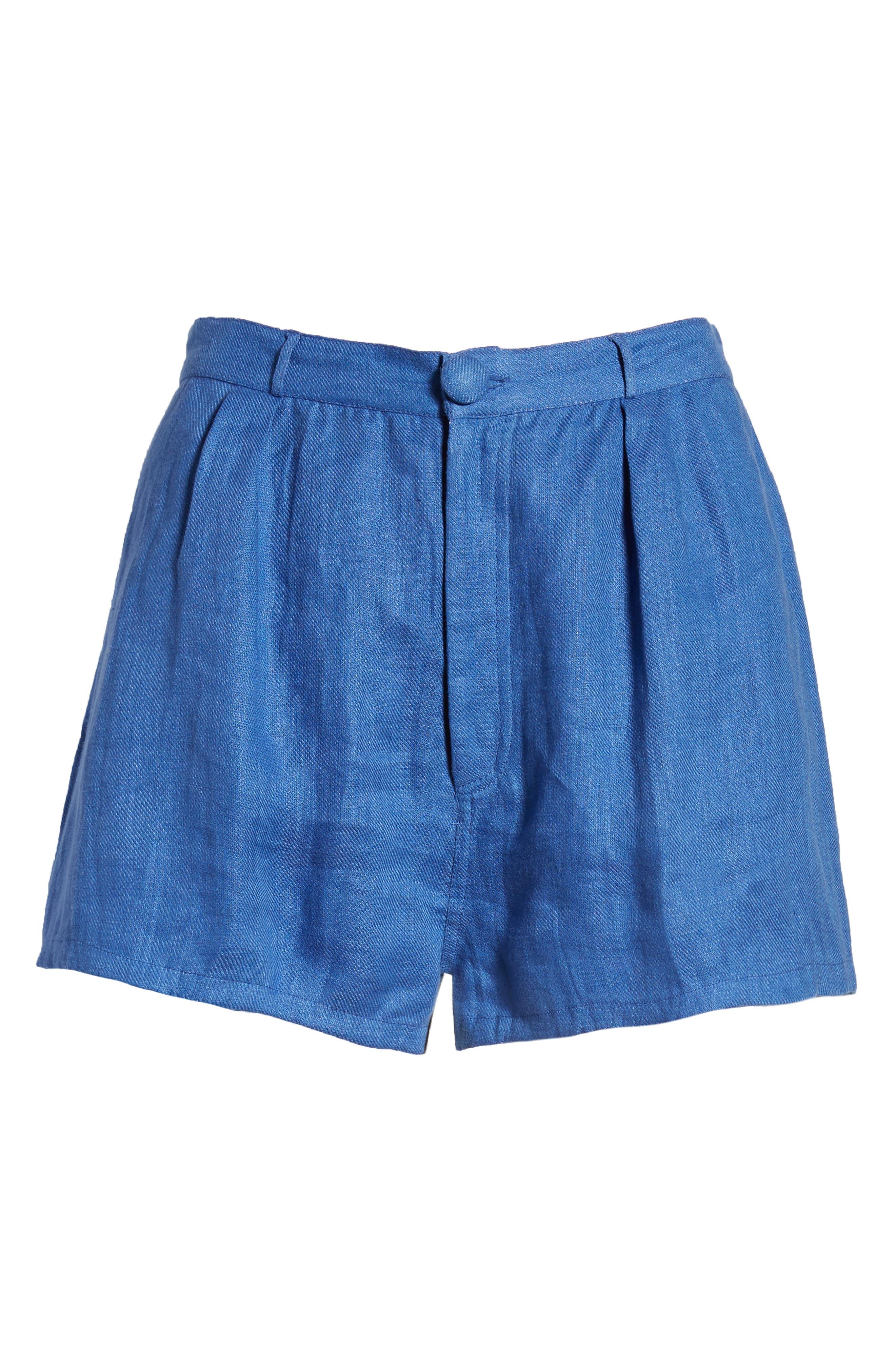 Jordy High Waist Shorts,                             Alternate thumbnail 7, color,                             Blue