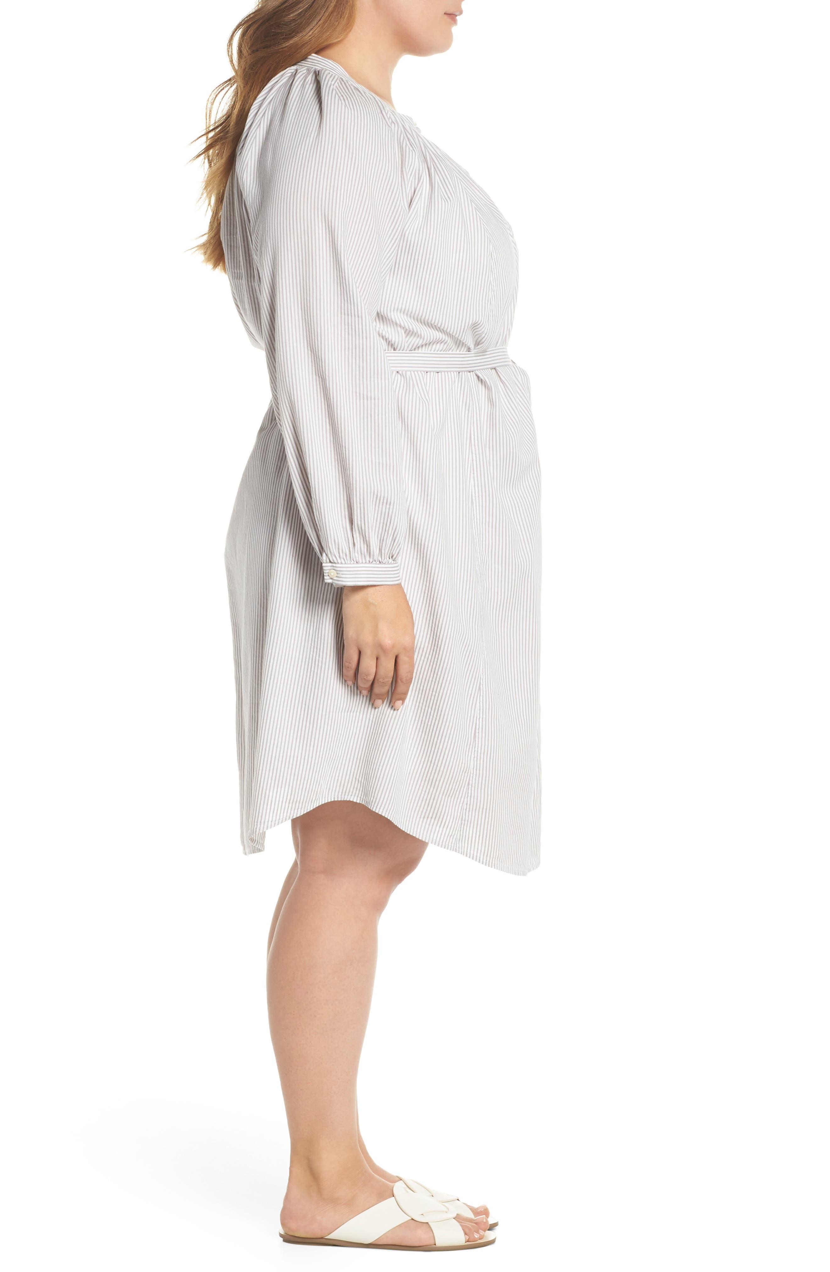 Stripe Peasant Dress,                             Alternate thumbnail 3, color,                             Grey Multi