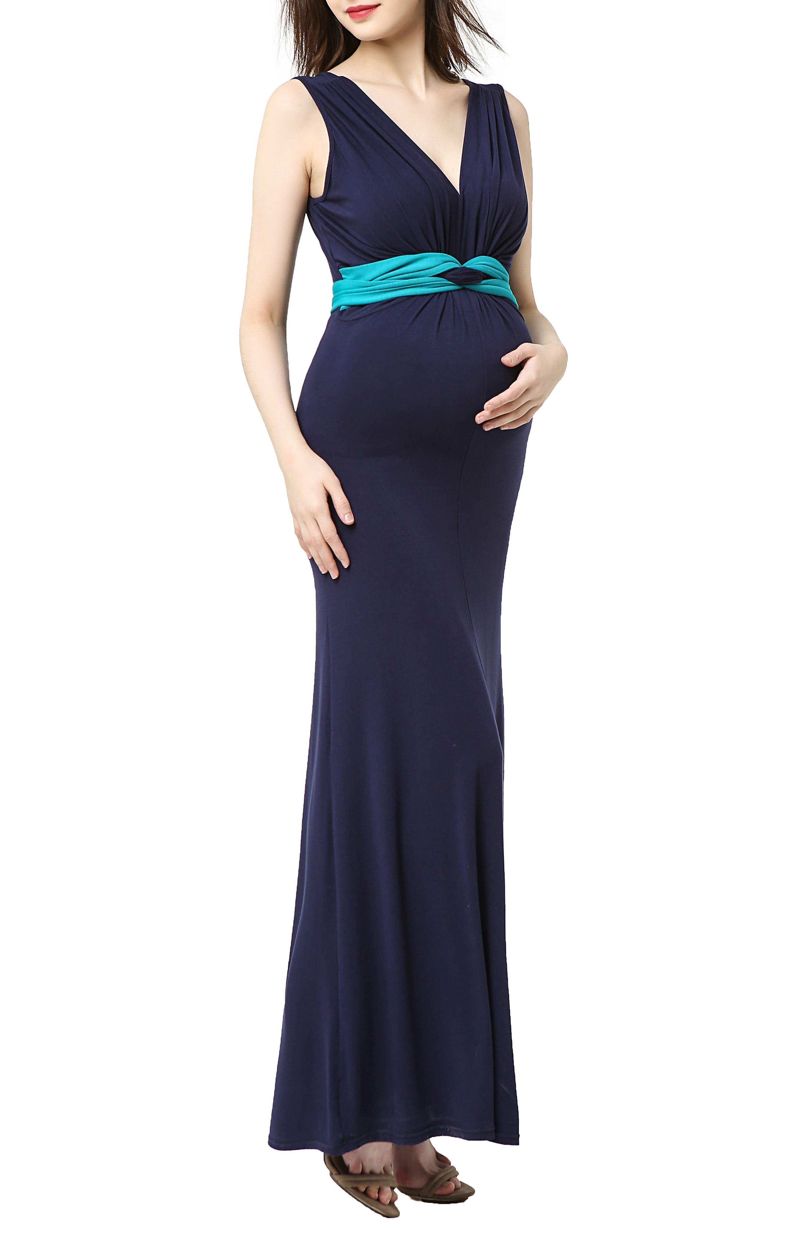 Scarlett Maternity Maxi Dress,                             Main thumbnail 1, color,                             Navy/ Teal