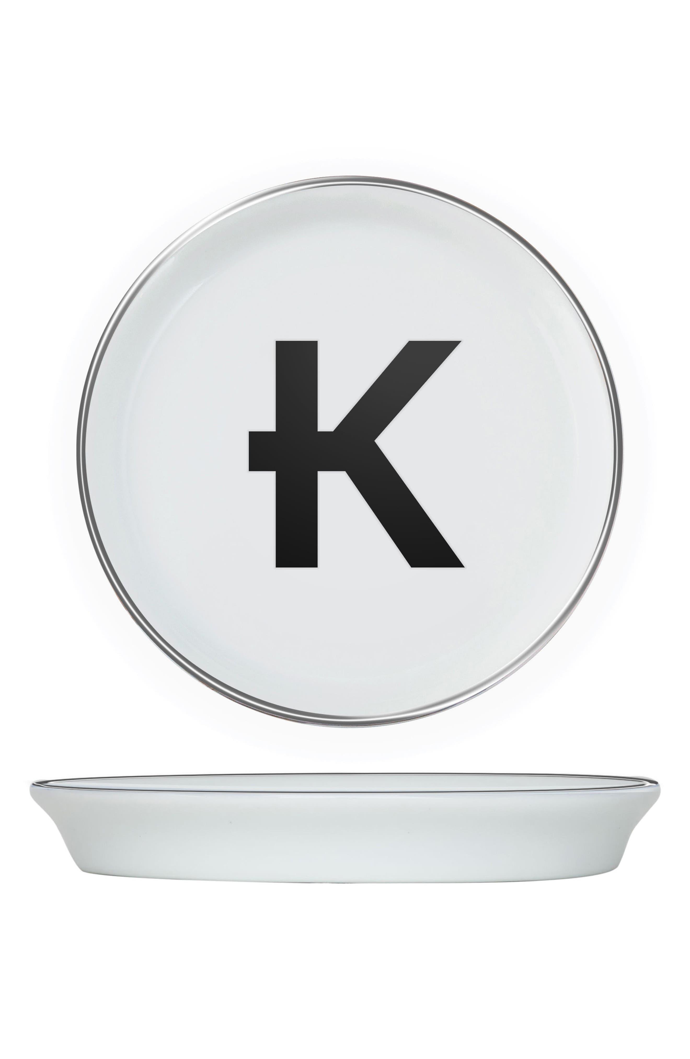 Brooklyn Set of 4 Porcelain Initial Coasters,                         Main,                         color, K