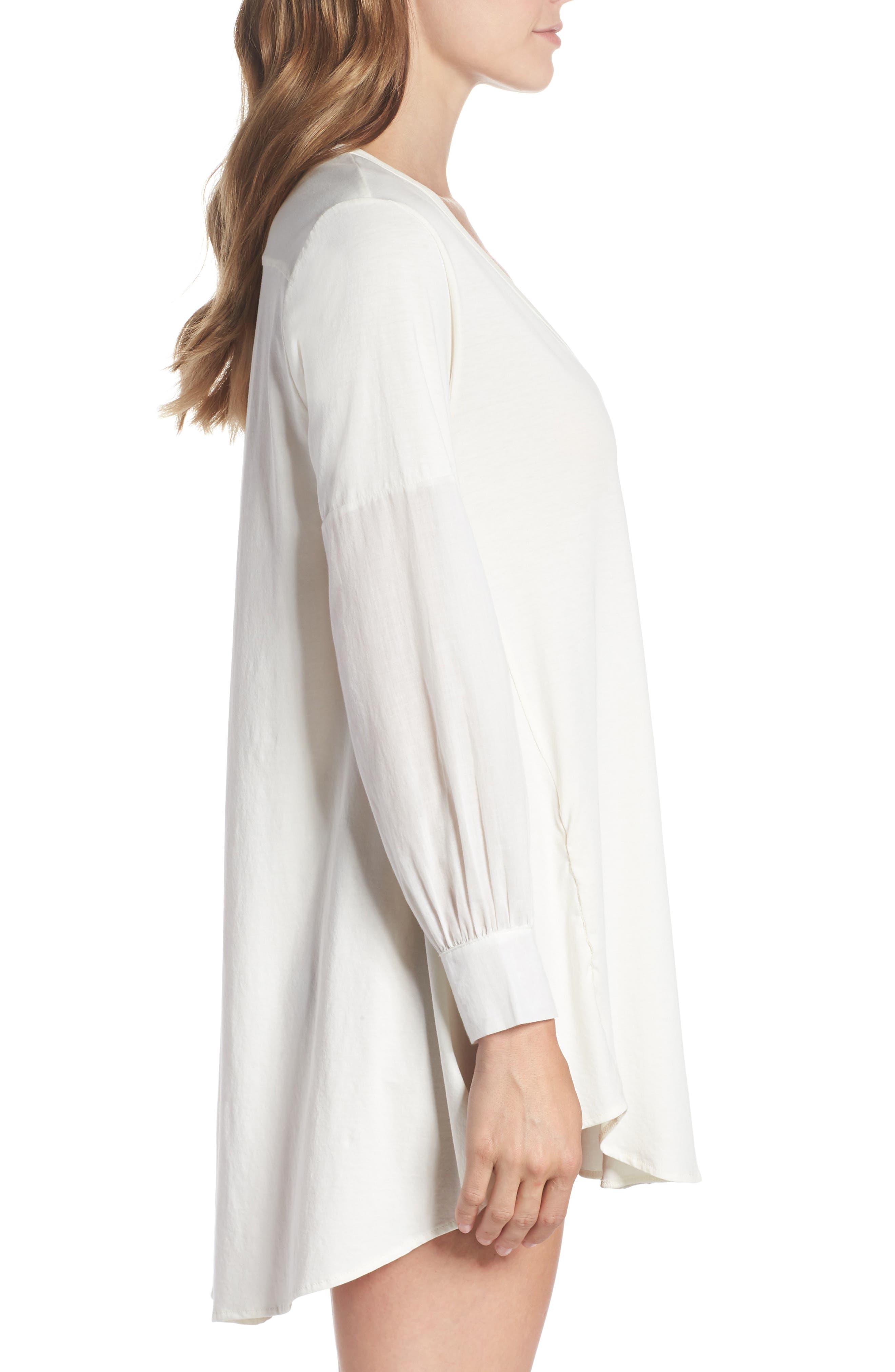 Blanche Pima Cotton Voile Sleep Shirt,                             Alternate thumbnail 3, color,                             Gardenia