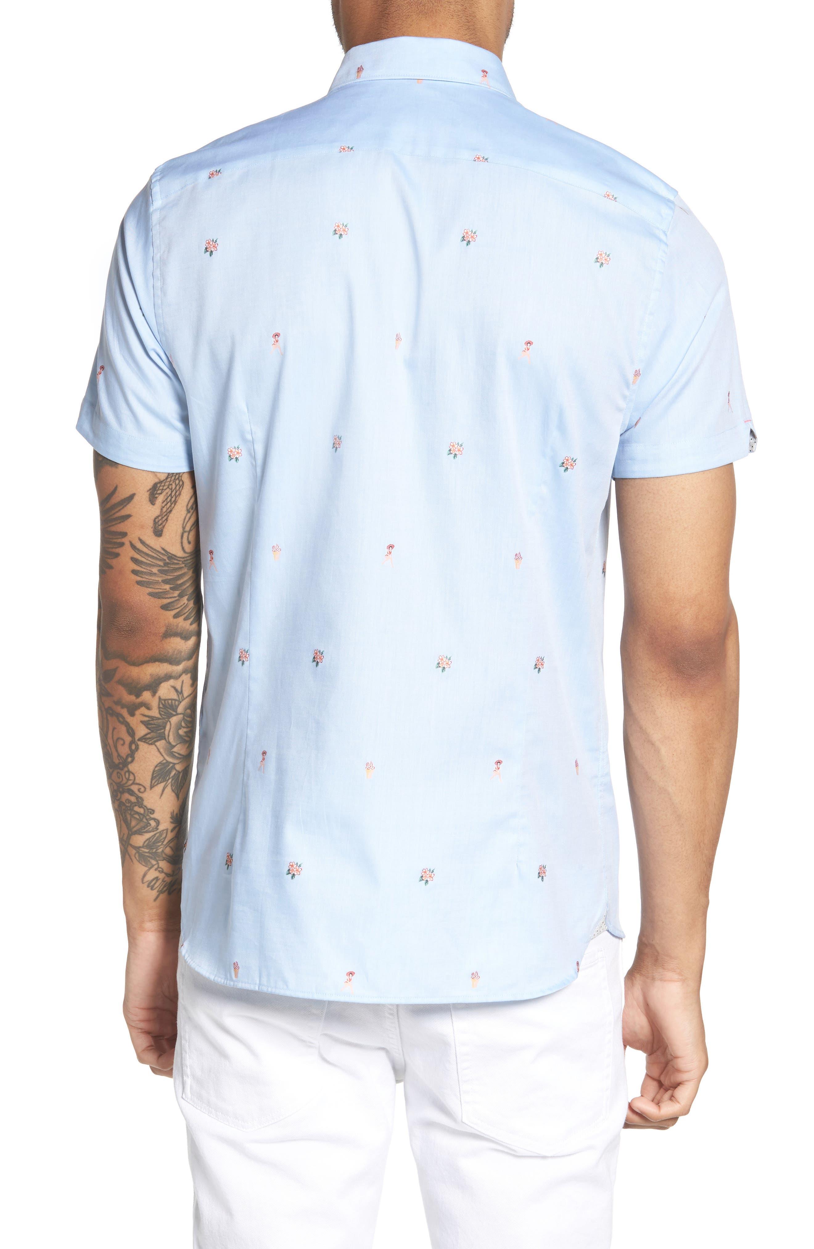 Aloha Trim Fit Sport Shirt,                             Alternate thumbnail 2, color,                             Blue
