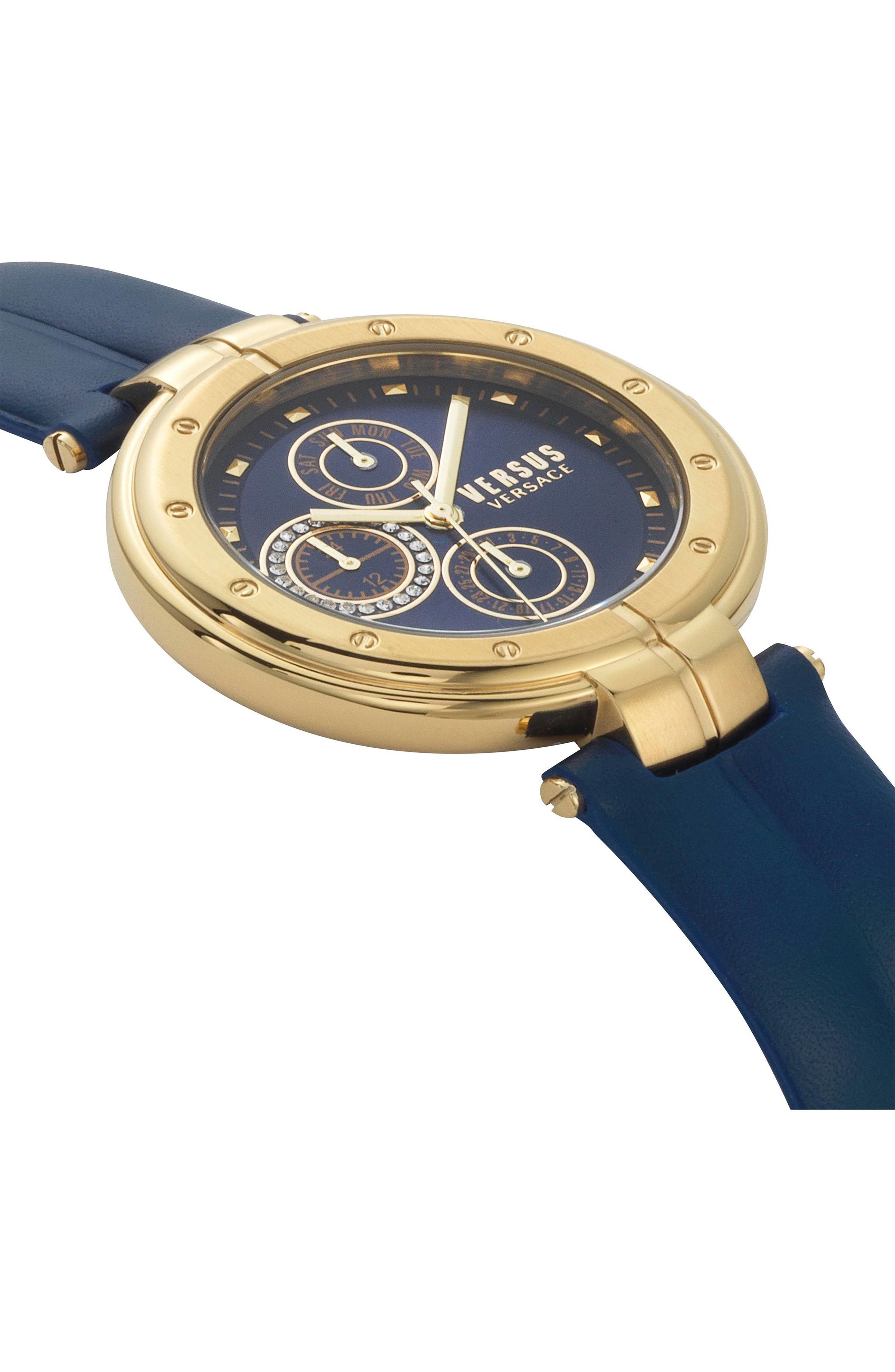 VERSUS by Versace Bellville Leather Strap Watch, 38mm,                             Alternate thumbnail 3, color,                             Blue/ Gold