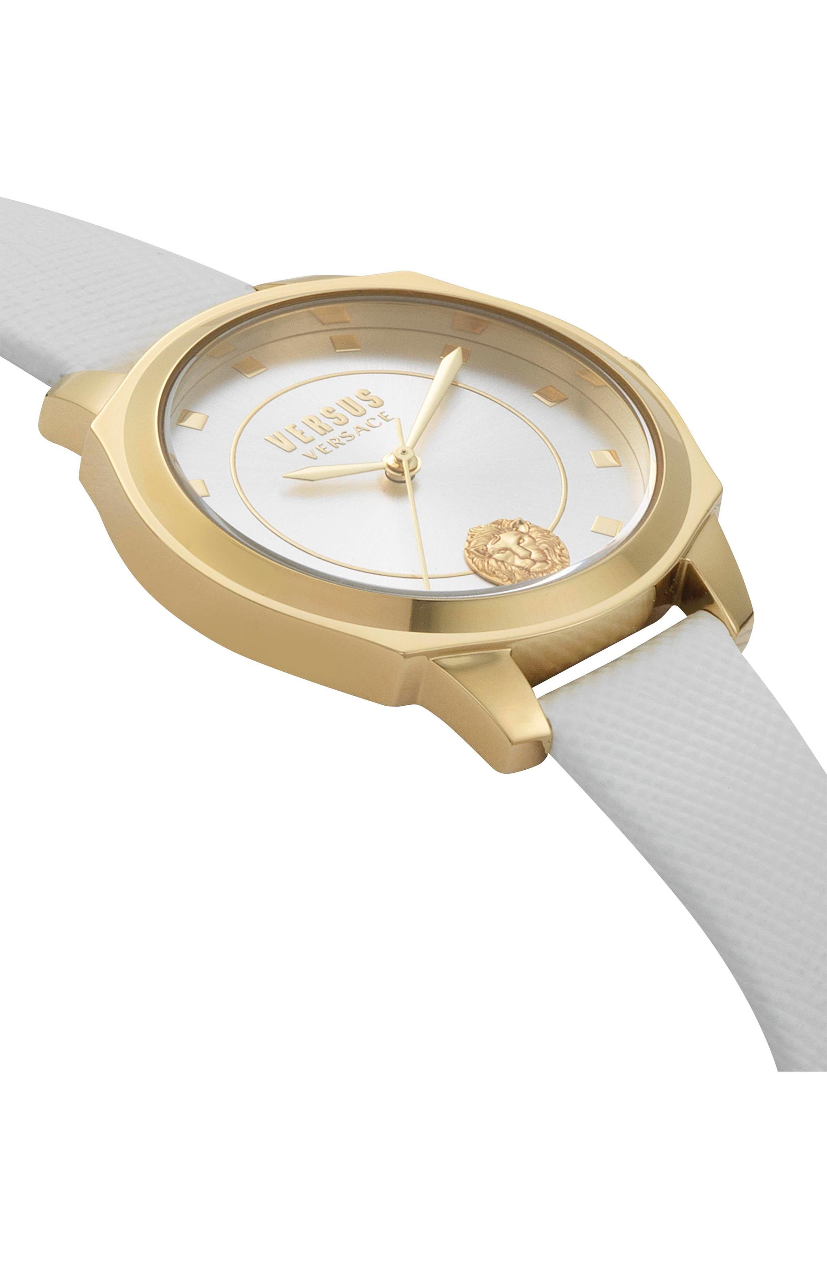 VERSUS by Versace Chelsea Leather Strap Watch, 34mm,                             Alternate thumbnail 3, color,                             White/ Silver/ Gold