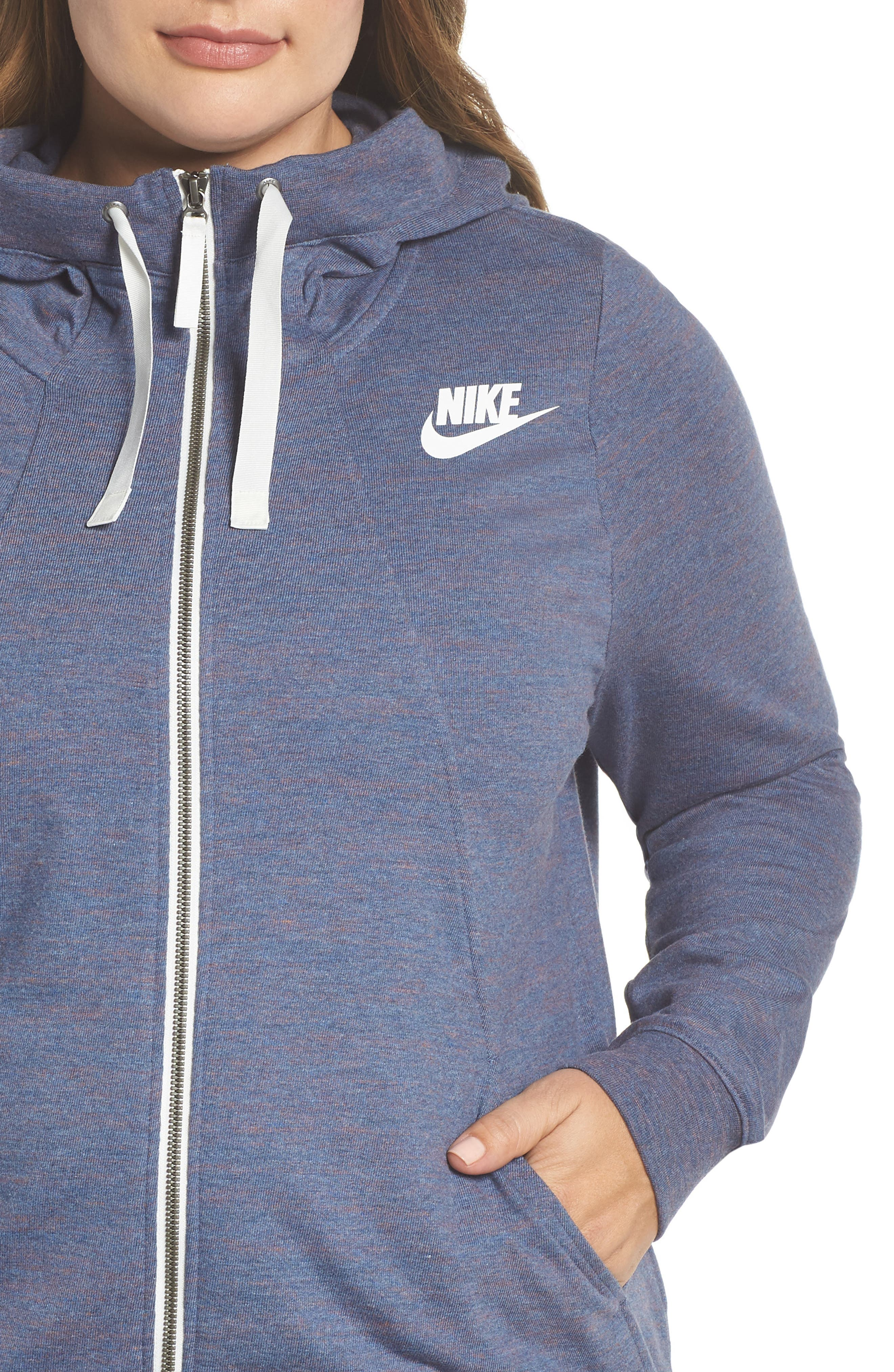 Gym Zip Hoodie,                             Alternate thumbnail 4, color,                             Diffused Blue/ Heather/ Sail
