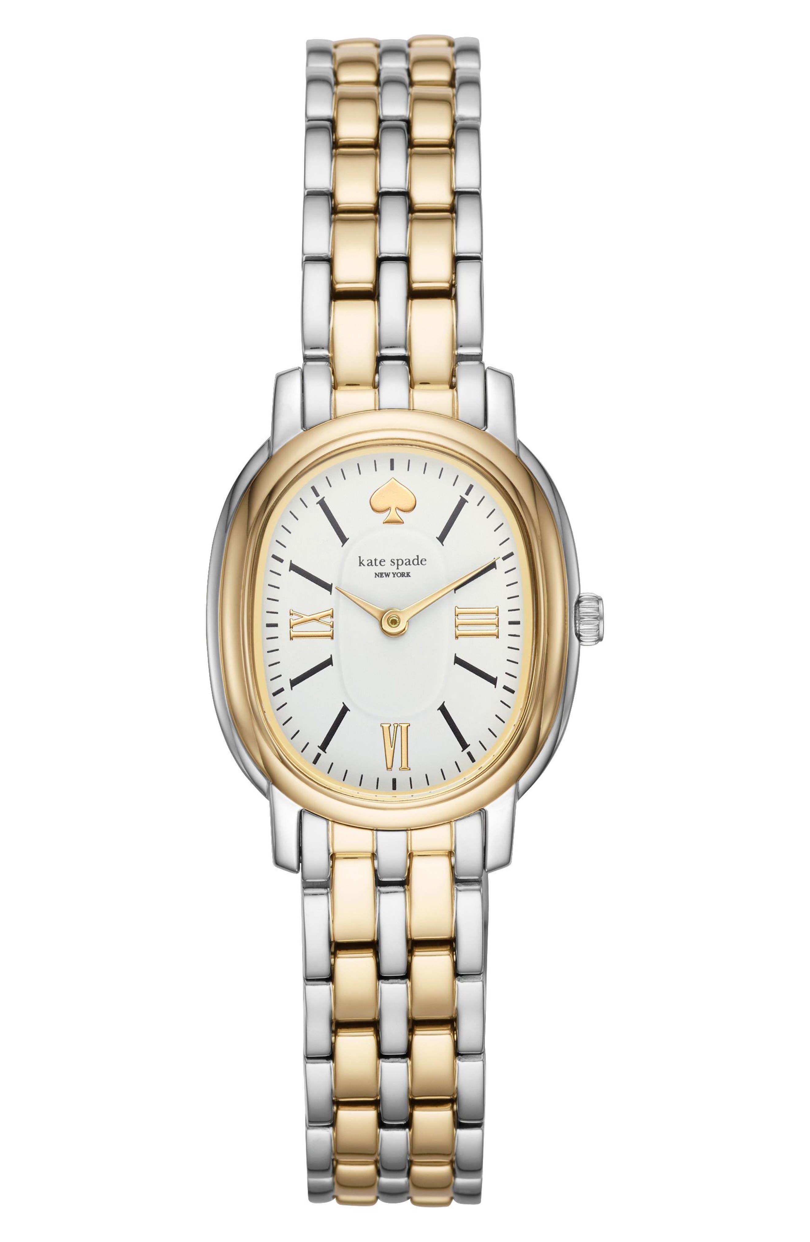staten bracelet watch, 25mm,                             Main thumbnail 1, color,                             Gold/ White/ Silver