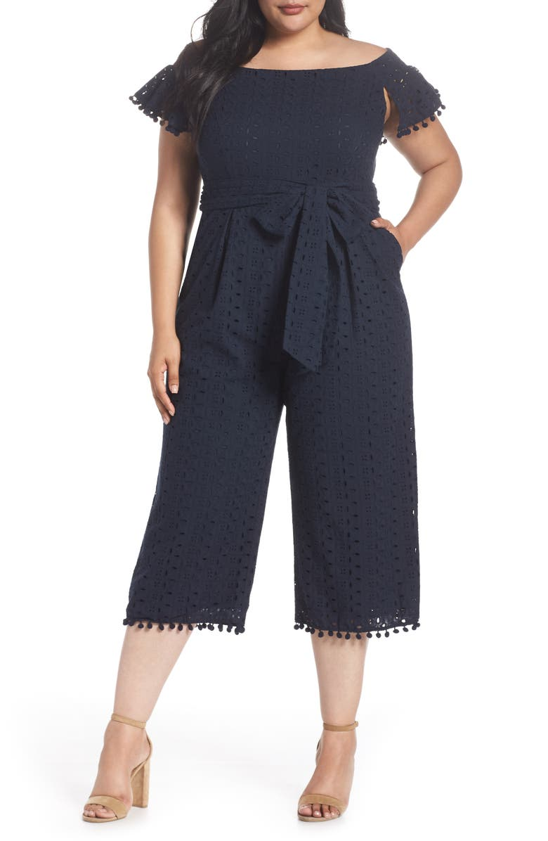 Off the Shoulder Pom Trim Eyelet Jumpsuit