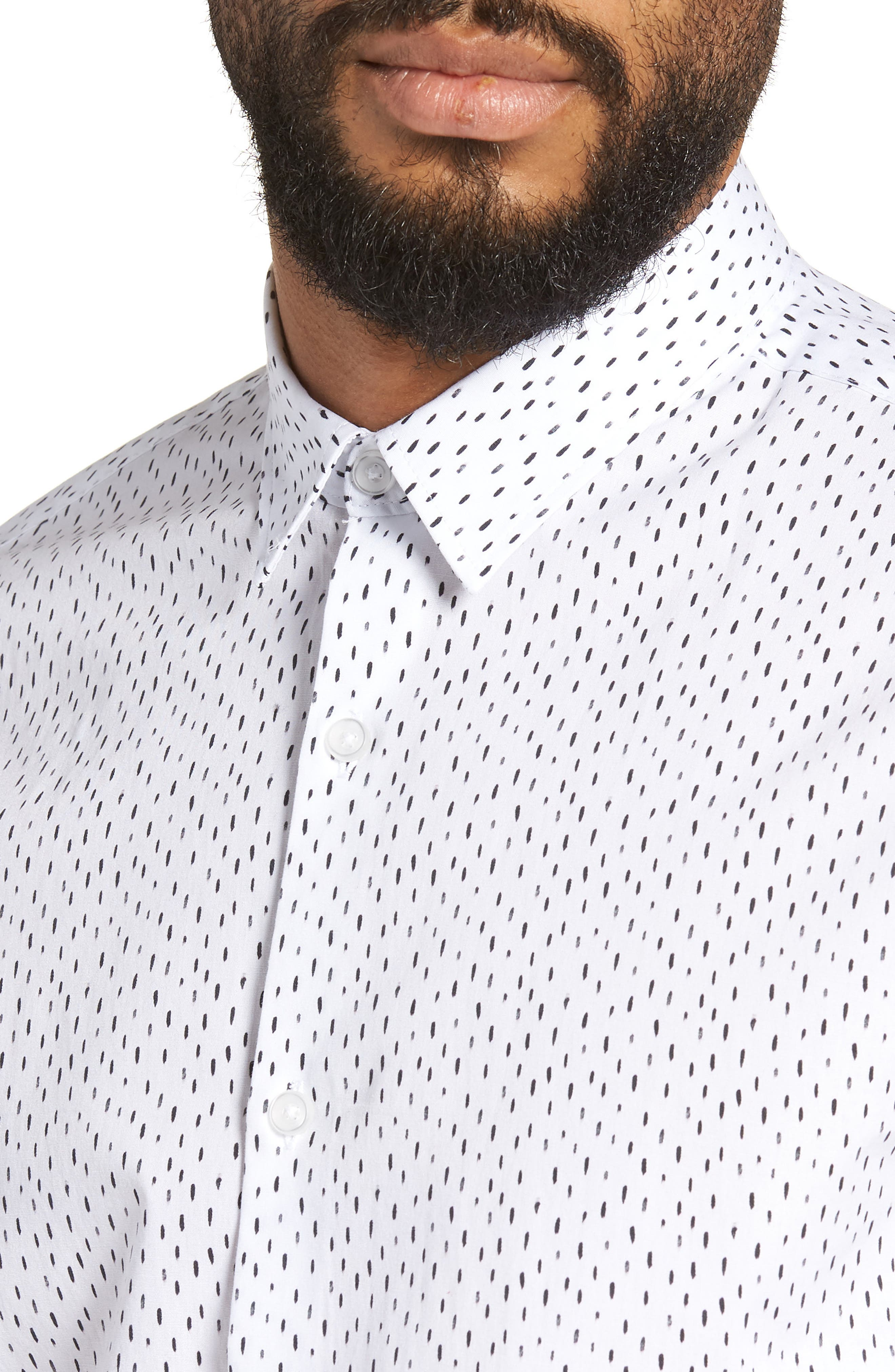 Trim Fit Stretch Print Sport Shirt,                             Alternate thumbnail 2, color,                             White Black Rain
