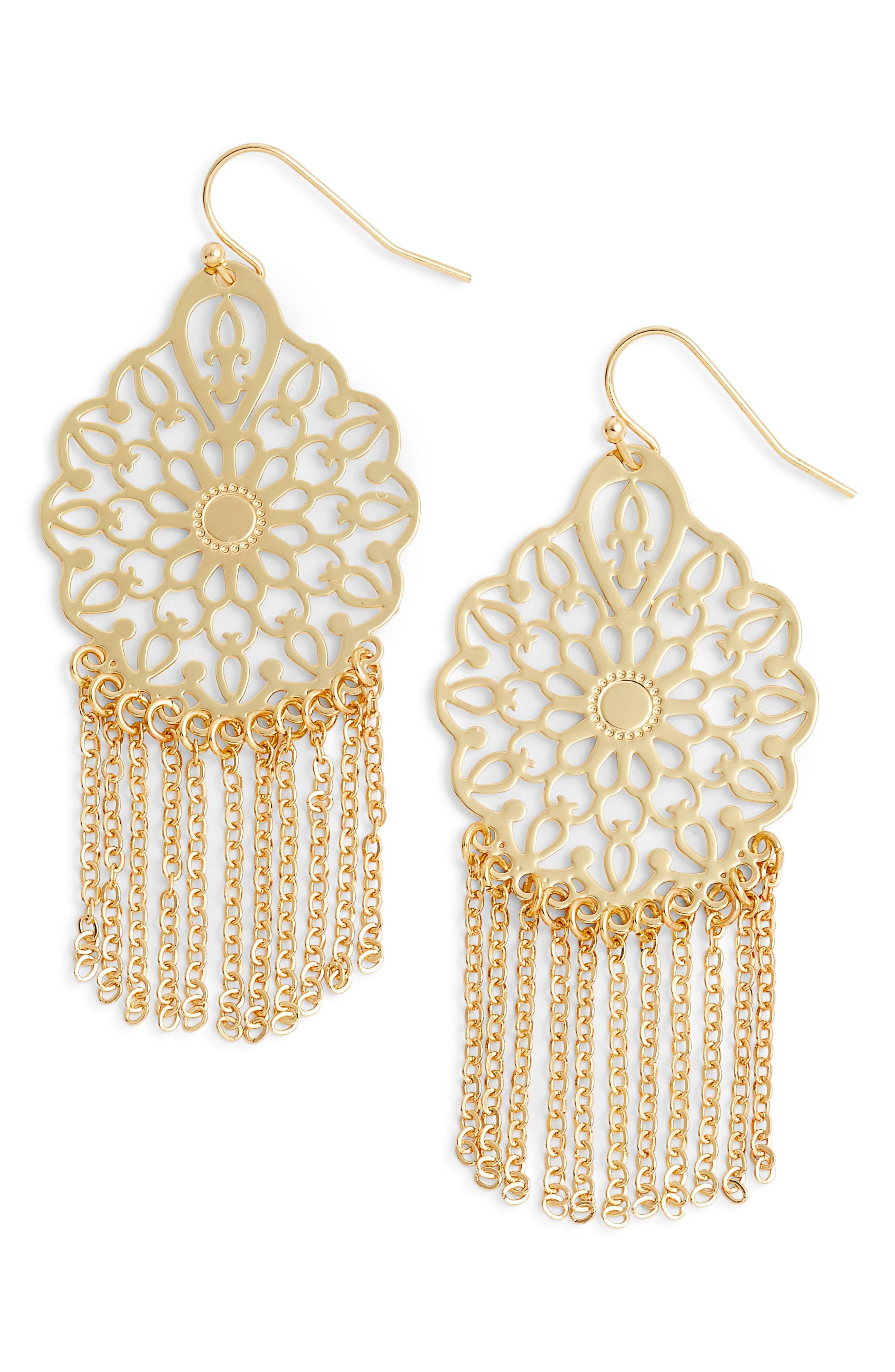 Filigree Fringe Drop Earrings,                         Main,                         color, Gold