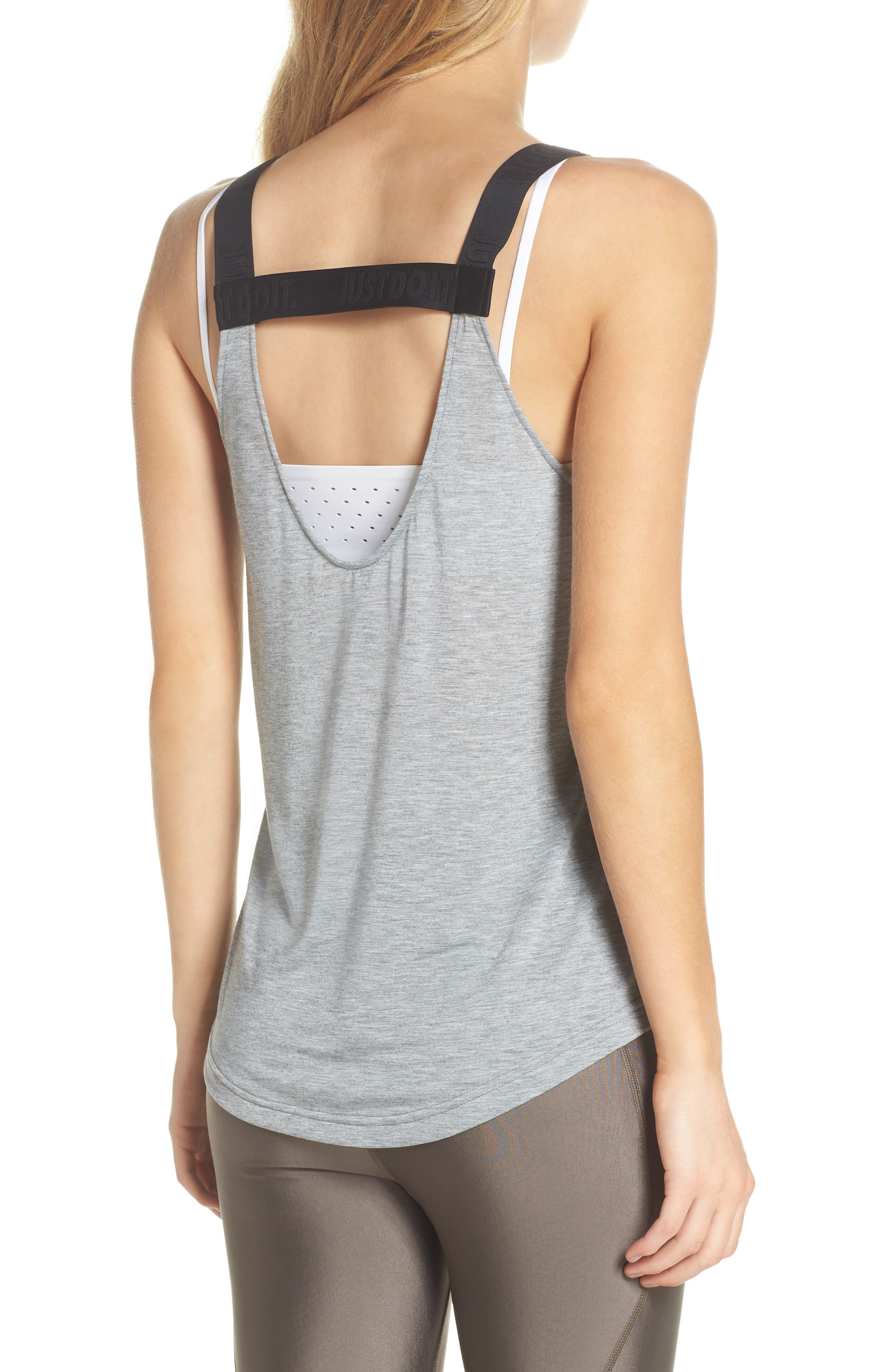 Breathe Elastika Tank,                             Alternate thumbnail 2, color,                             Carbon Heather/ Black/ Black