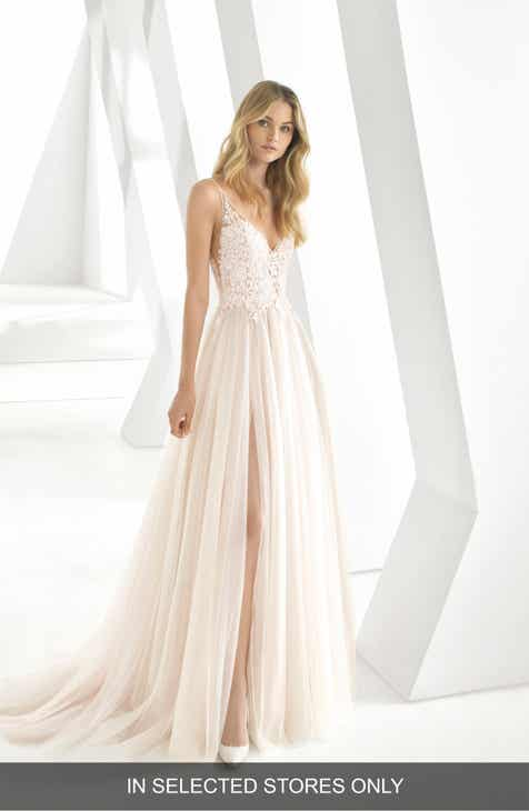 bff49d99cd9 Rosa Clará Donata Front Slit Lace   Tulle Wedding Gown