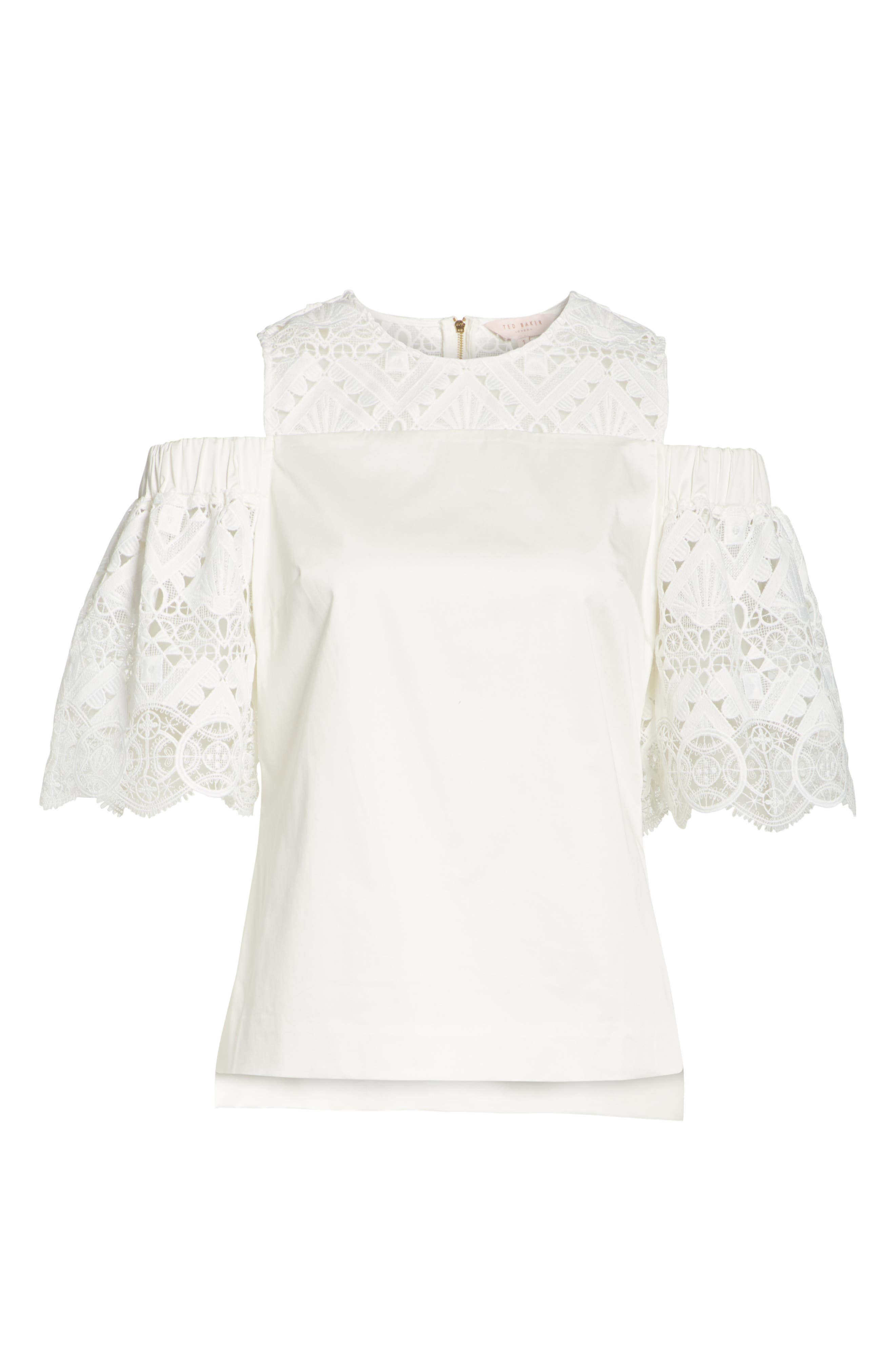 Taluah Mixed Lace Cold Shoulder Blouse,                             Alternate thumbnail 6, color,                             White