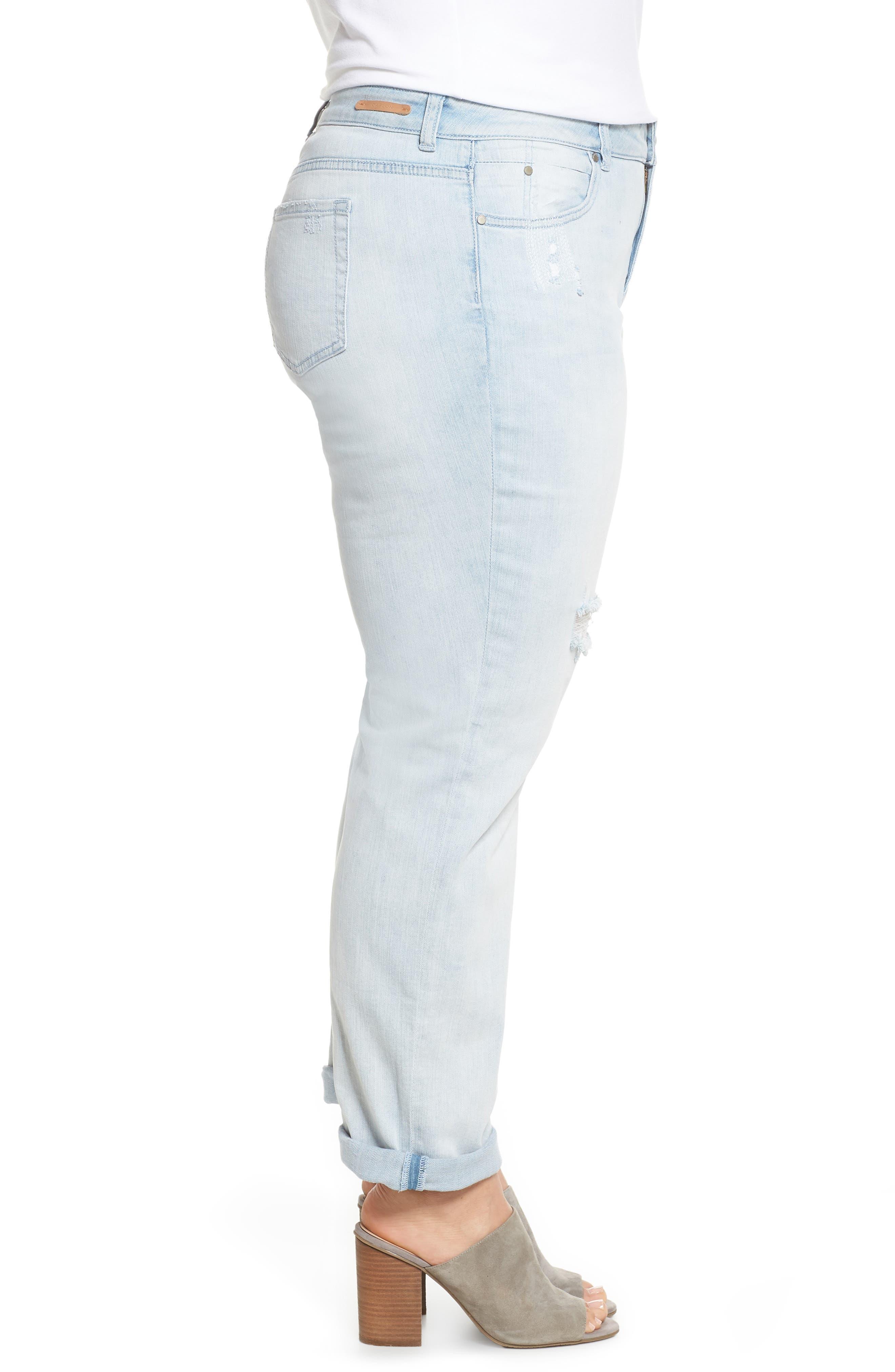 Distressed Boyfriend Jeans,                             Alternate thumbnail 3, color,                             Platinum Light Wash
