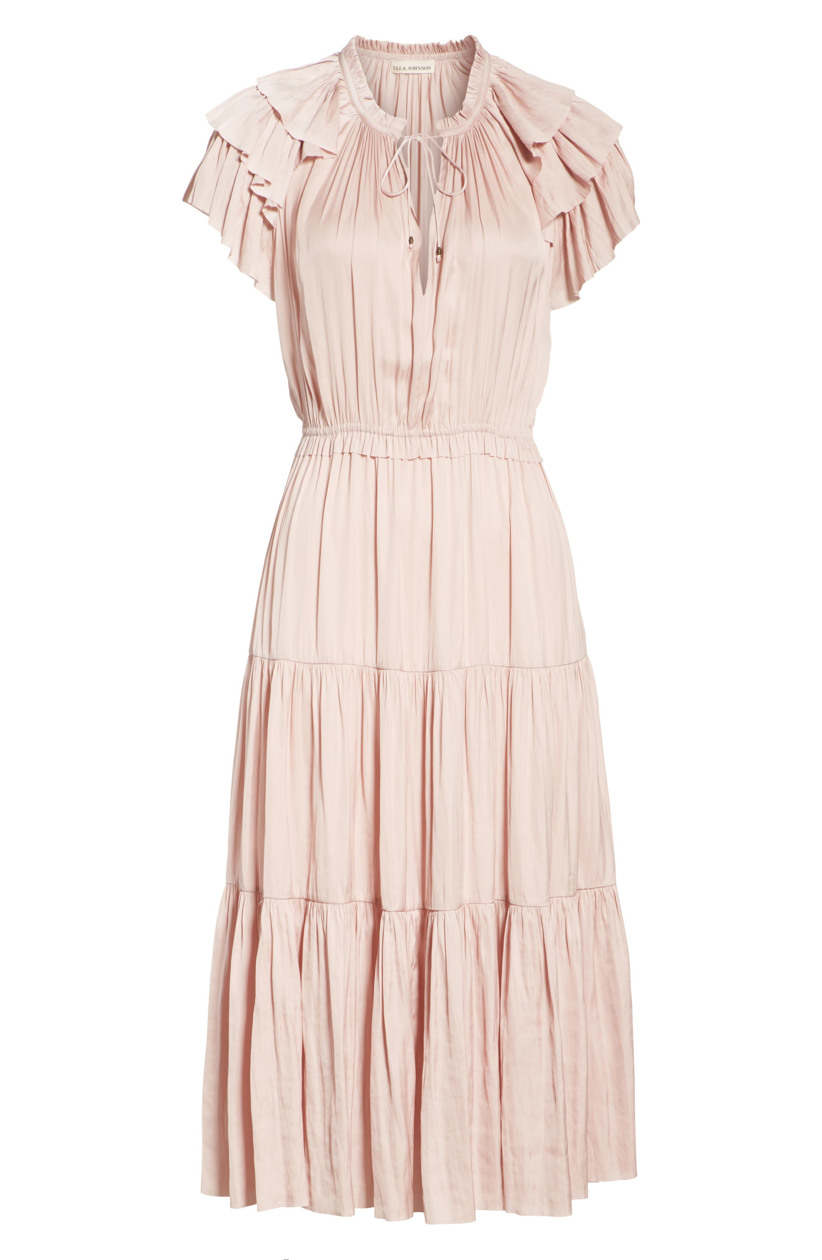 Blaire Satin Dress,                             Alternate thumbnail 6, color,                             Rose