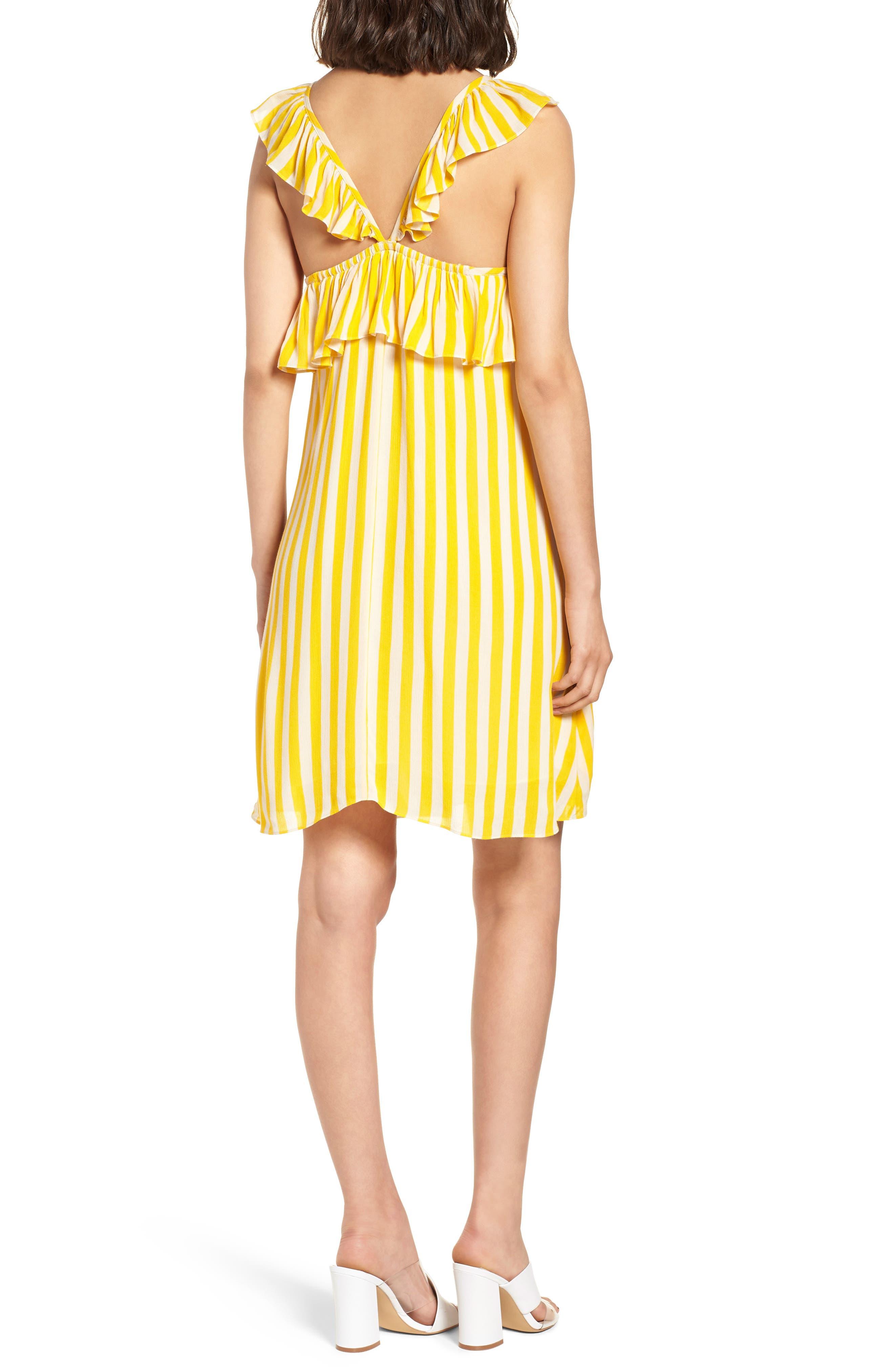 Tinsley Halter Dress,                             Alternate thumbnail 2, color,                             Yellow Stripe