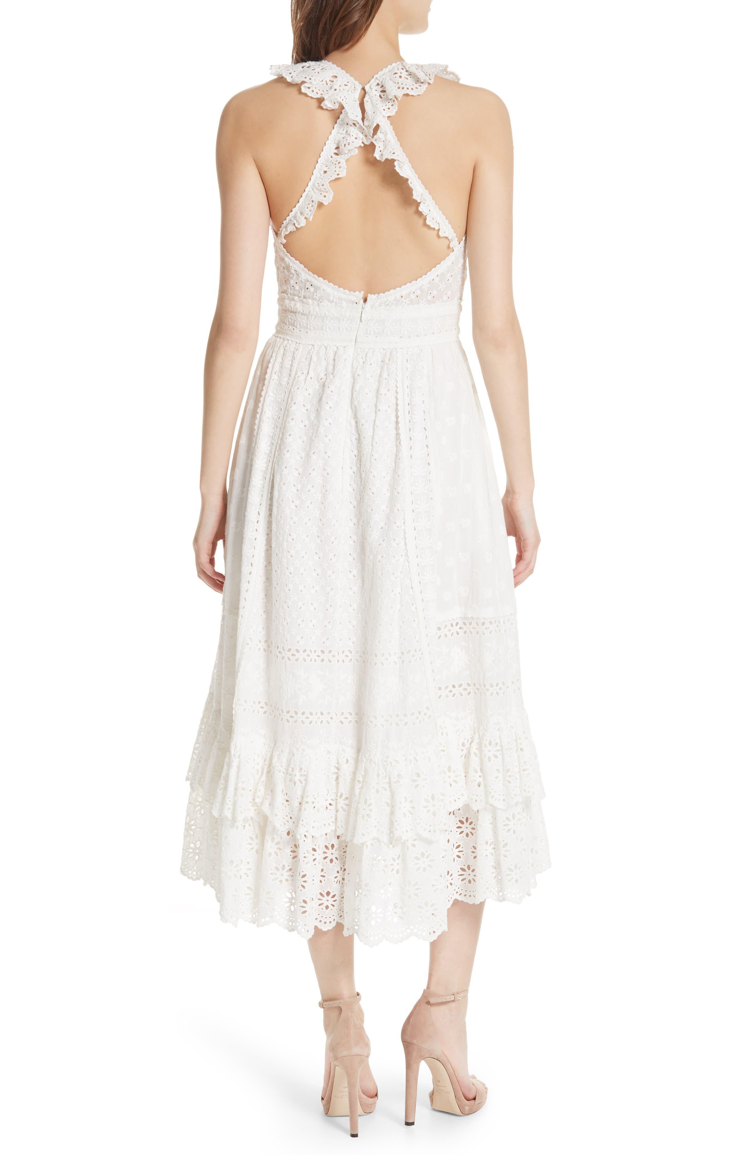 Willow Eyelet Dress,                             Alternate thumbnail 2, color,                             Blanc