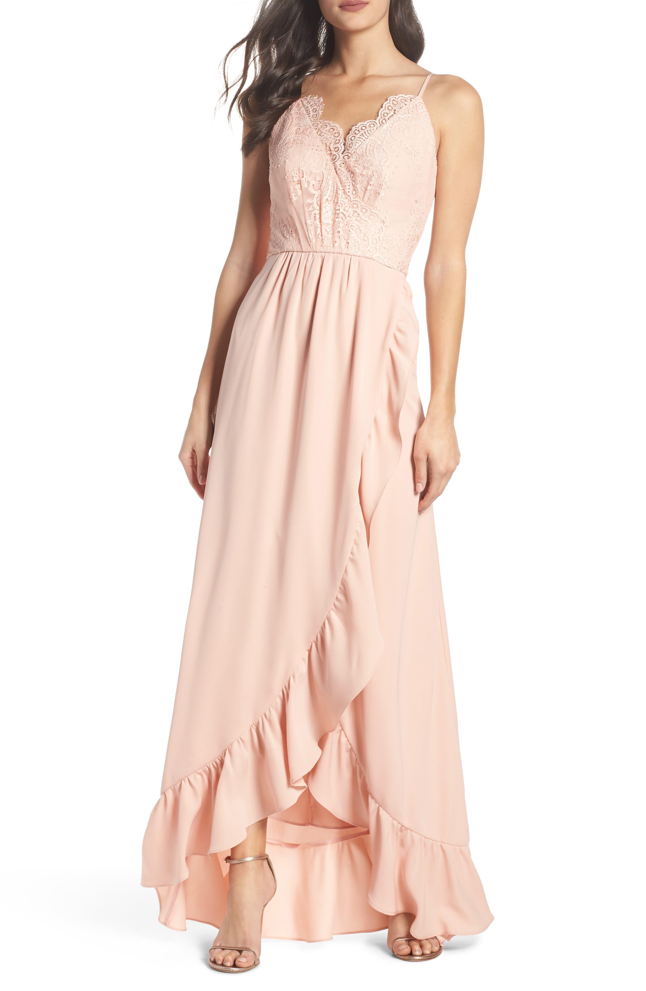 Teigen Faux Wrap Ruffle Gown,                         Main,                         color, Mink