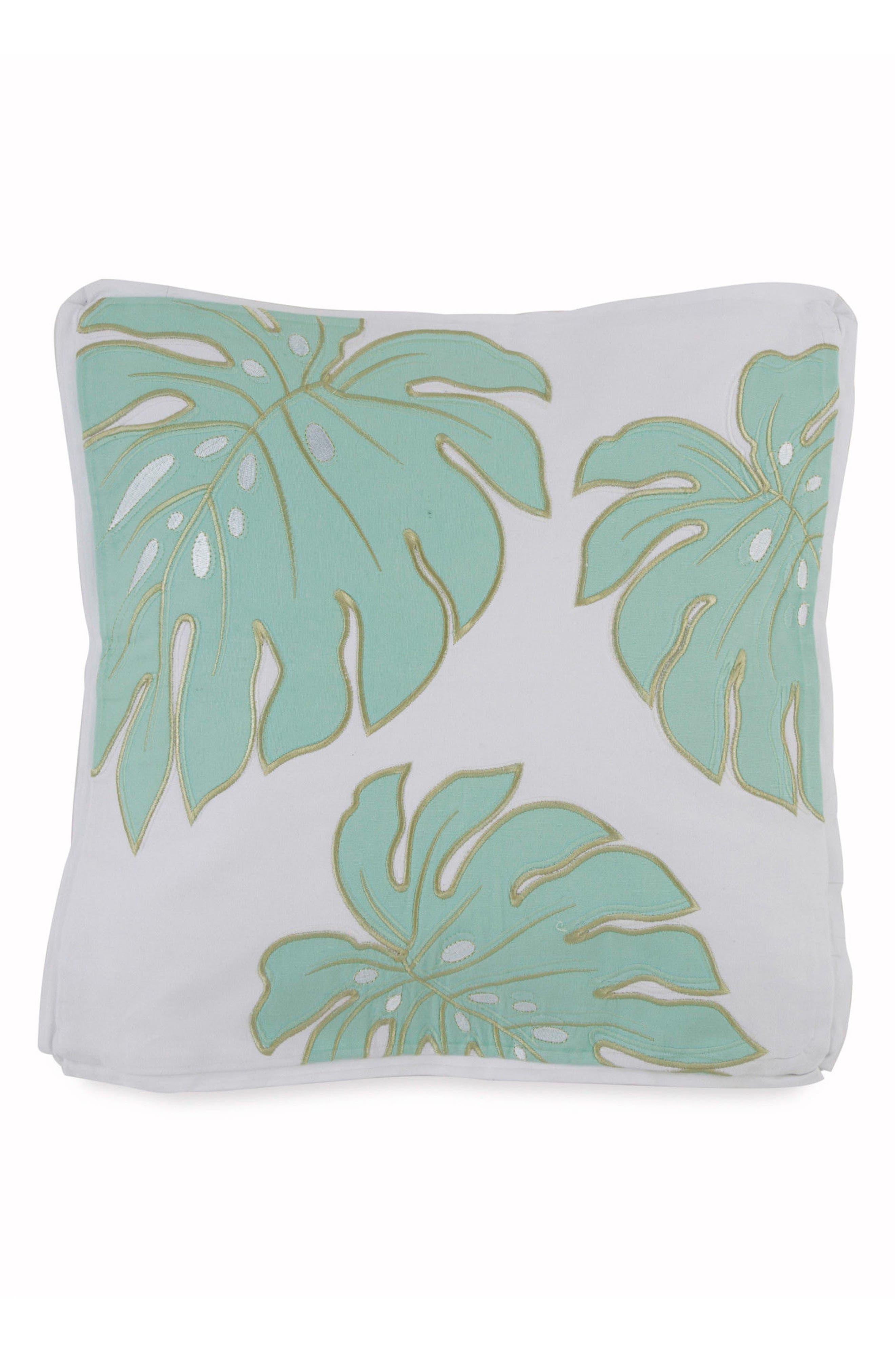 Tropical Retreat Monstera Leaf Square Accent Pillow,                             Main thumbnail 1, color,                             White Multi