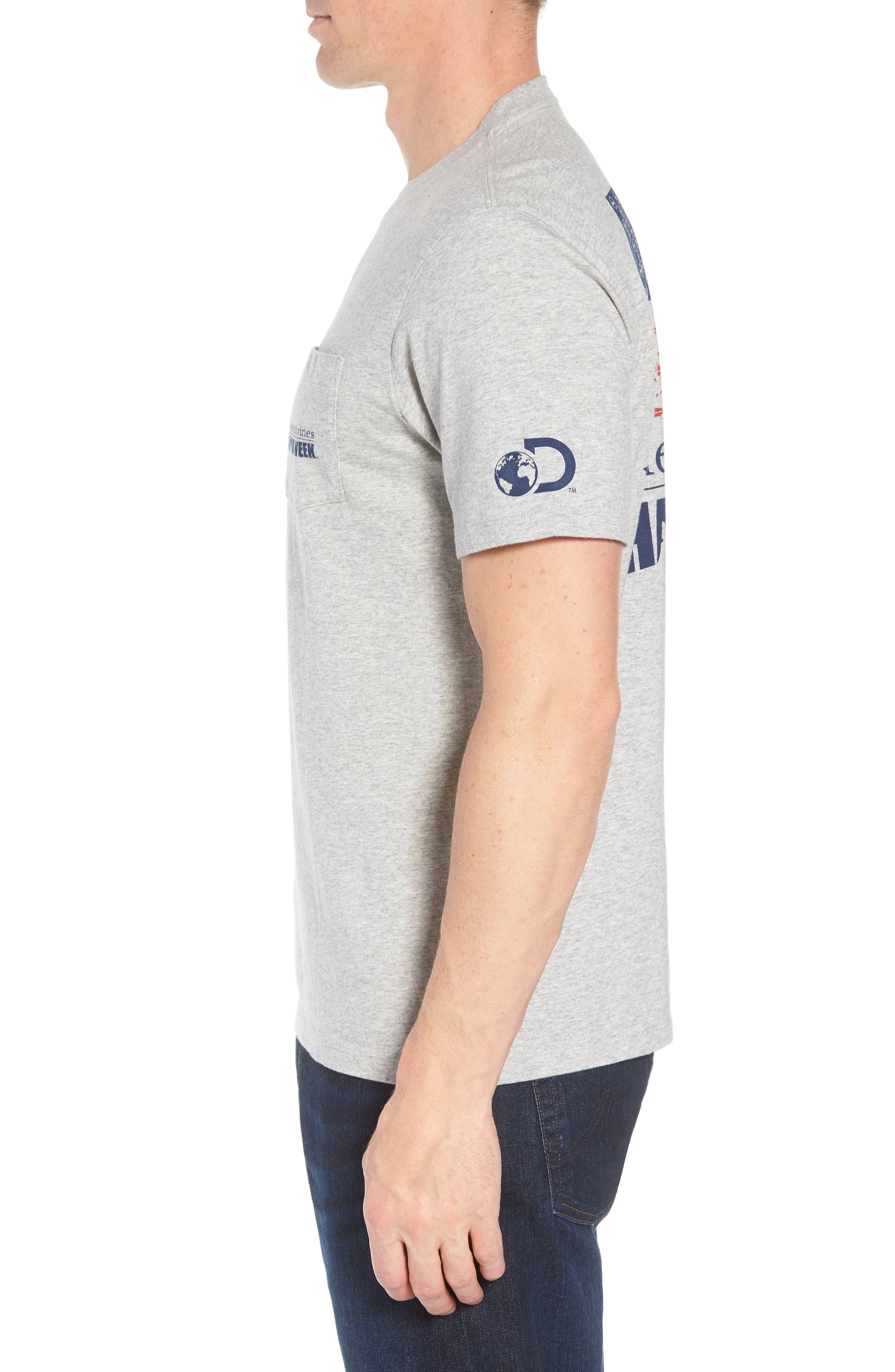 x Shark Week<sup>™</sup> Sharks & Stripes Pocket T-Shirt,                             Alternate thumbnail 4, color,                             Grey Heather