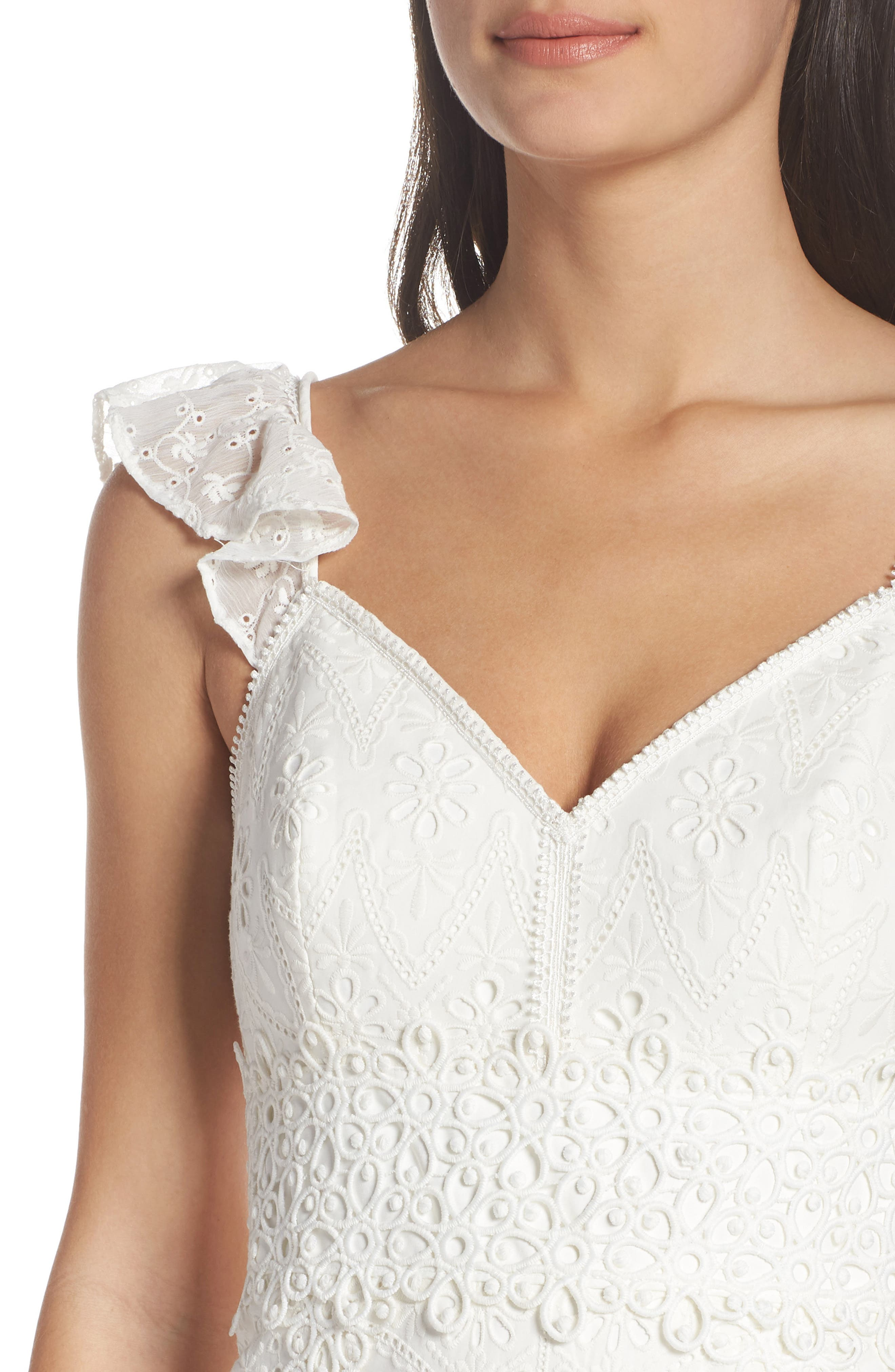 Broderie Anglaise Dress,                             Alternate thumbnail 4, color,                             White