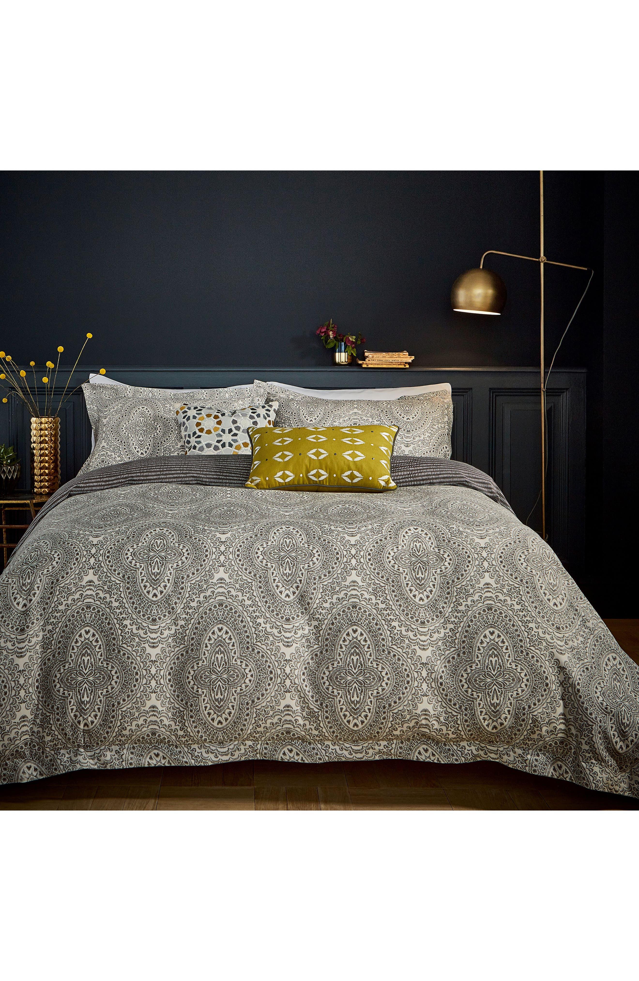 Ziba Duvet Cover, Sham & Accent Pillow Set,                             Main thumbnail 1, color,                             Grey