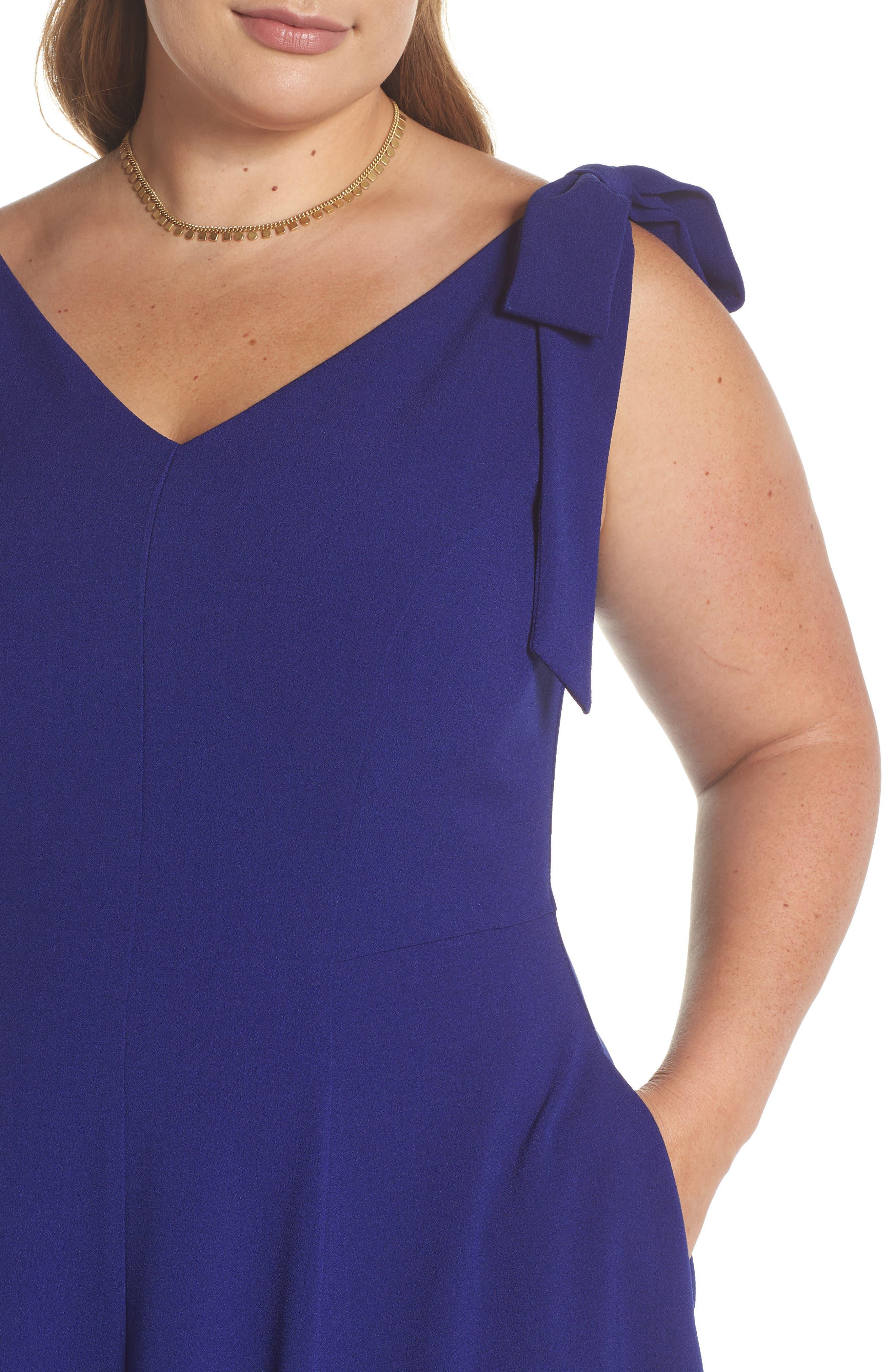 Tie-Shoulder Fit & Flare Dress,                             Alternate thumbnail 4, color,                             Cobalt