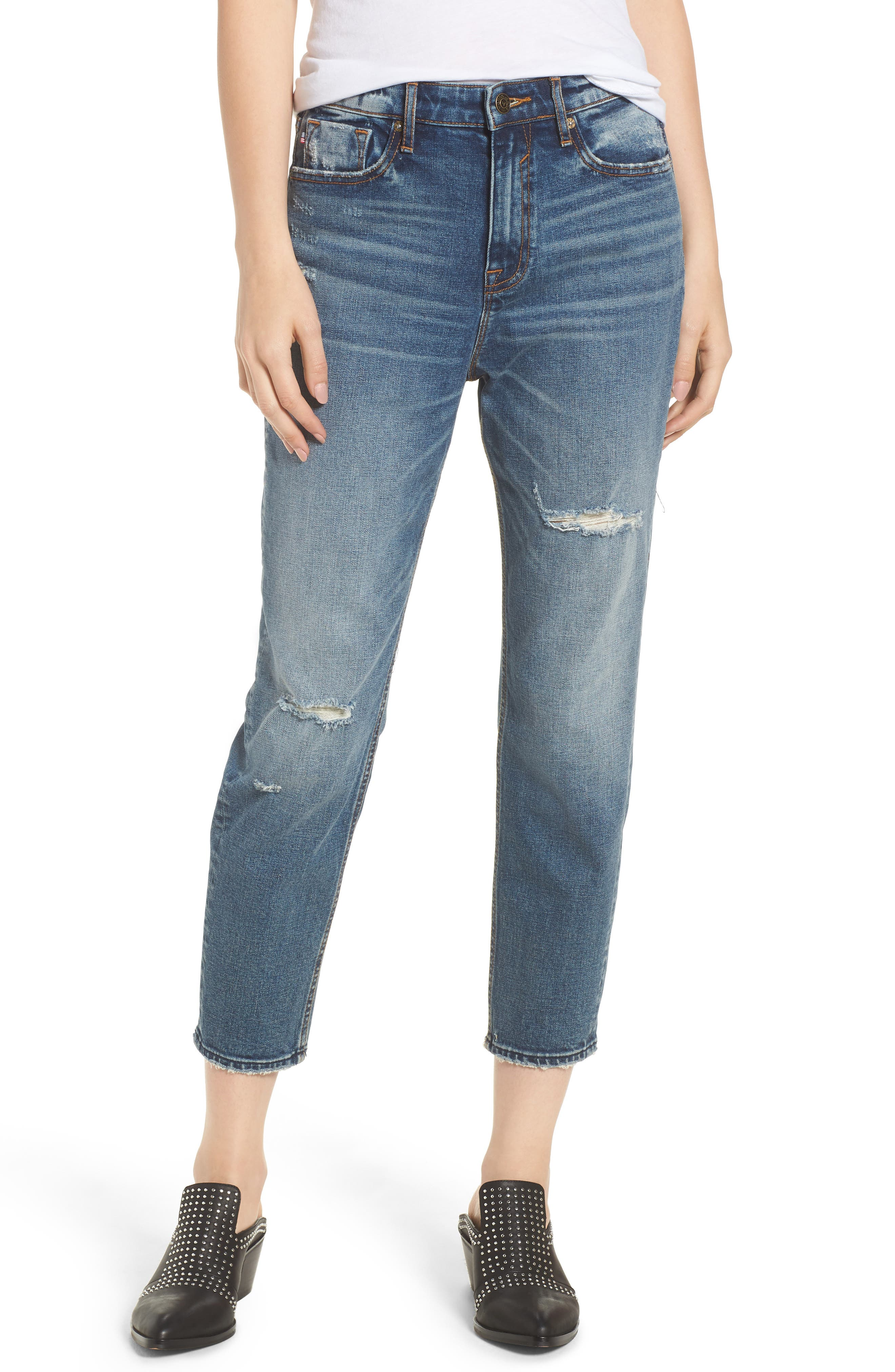 Friday Distressed Tapered Boyfriend Jeans,                             Main thumbnail 1, color,                             Medium Wash