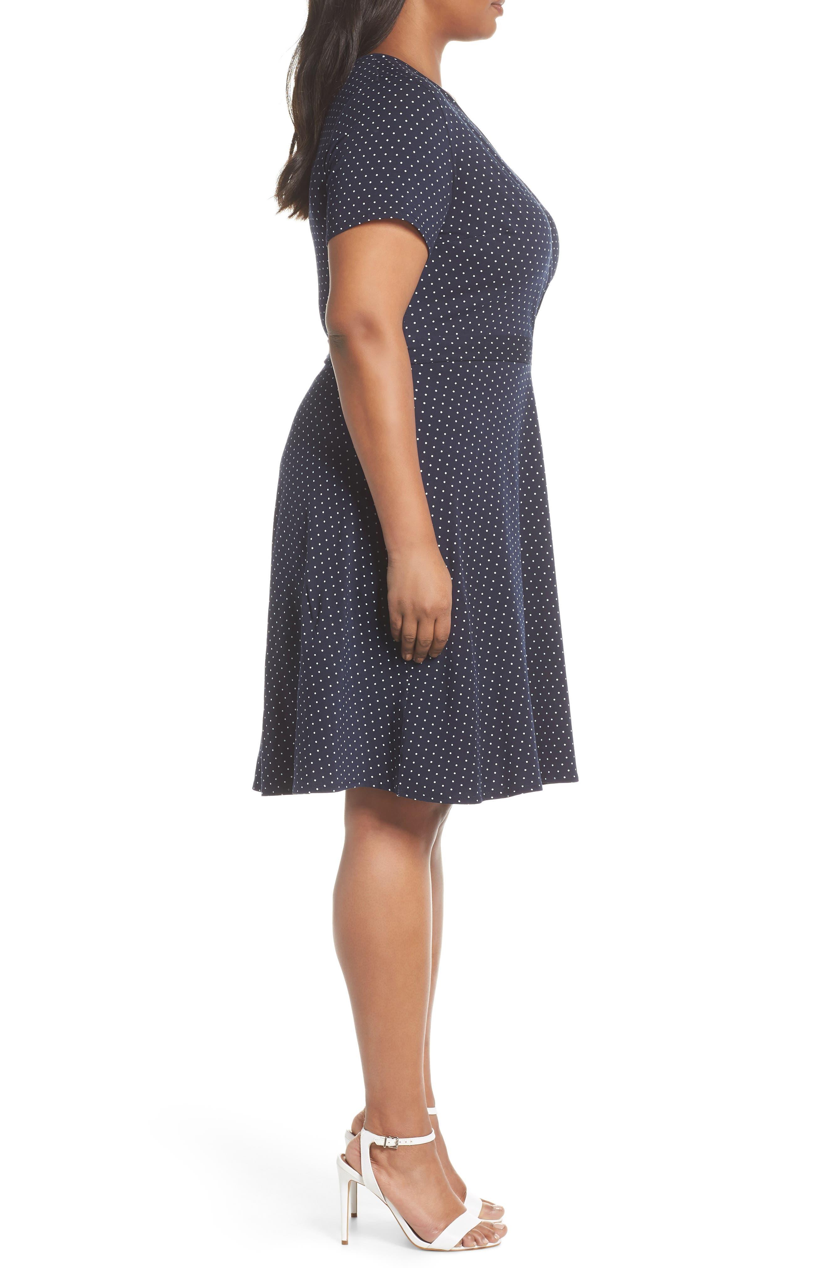 Spot Fit & Flare Wrap Dress,                             Alternate thumbnail 3, color,                             Navy