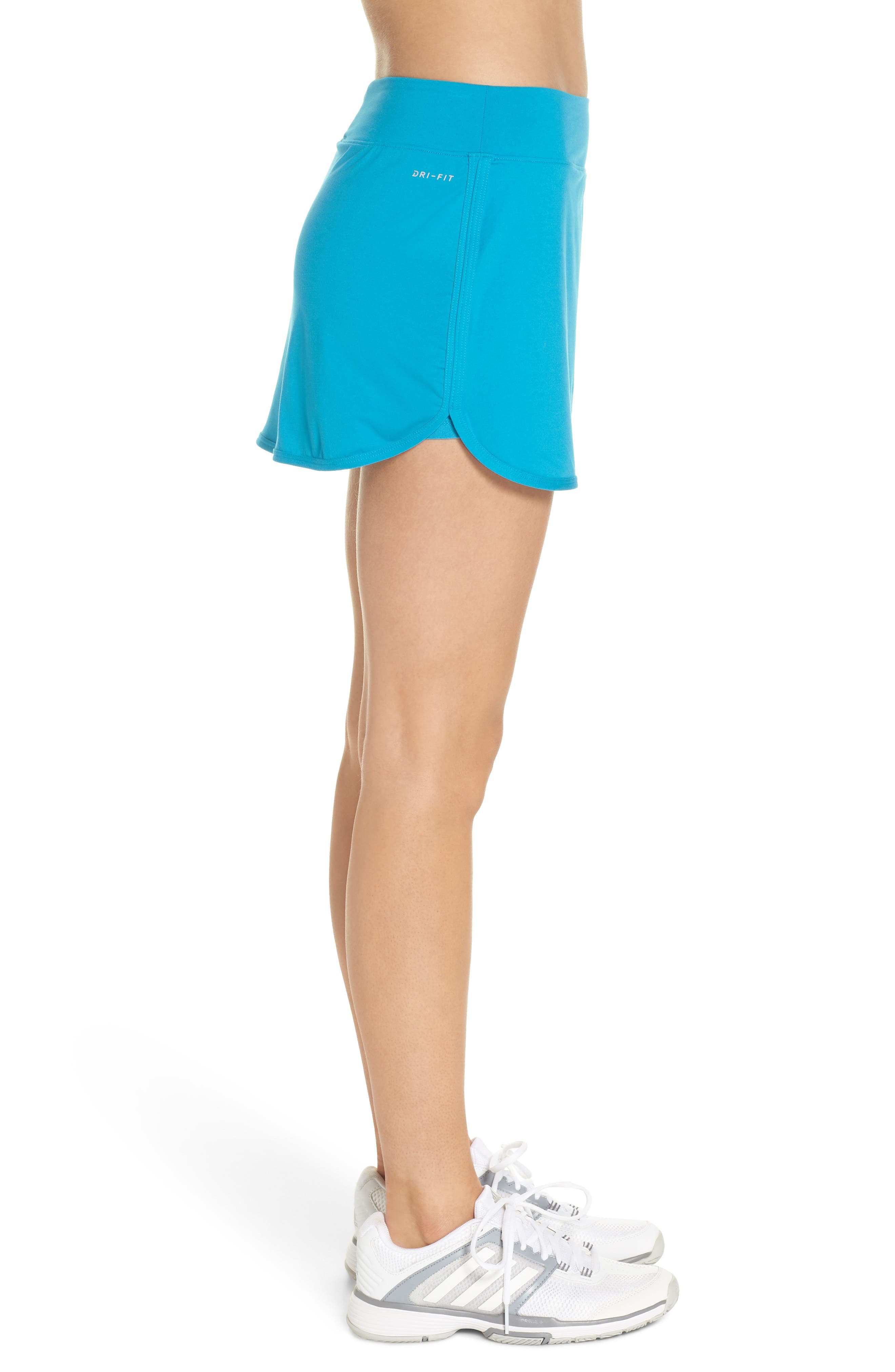 'Pure' Dri-FIT Tennis Skirt,                             Alternate thumbnail 3, color,                             Neo Turquoise/ White