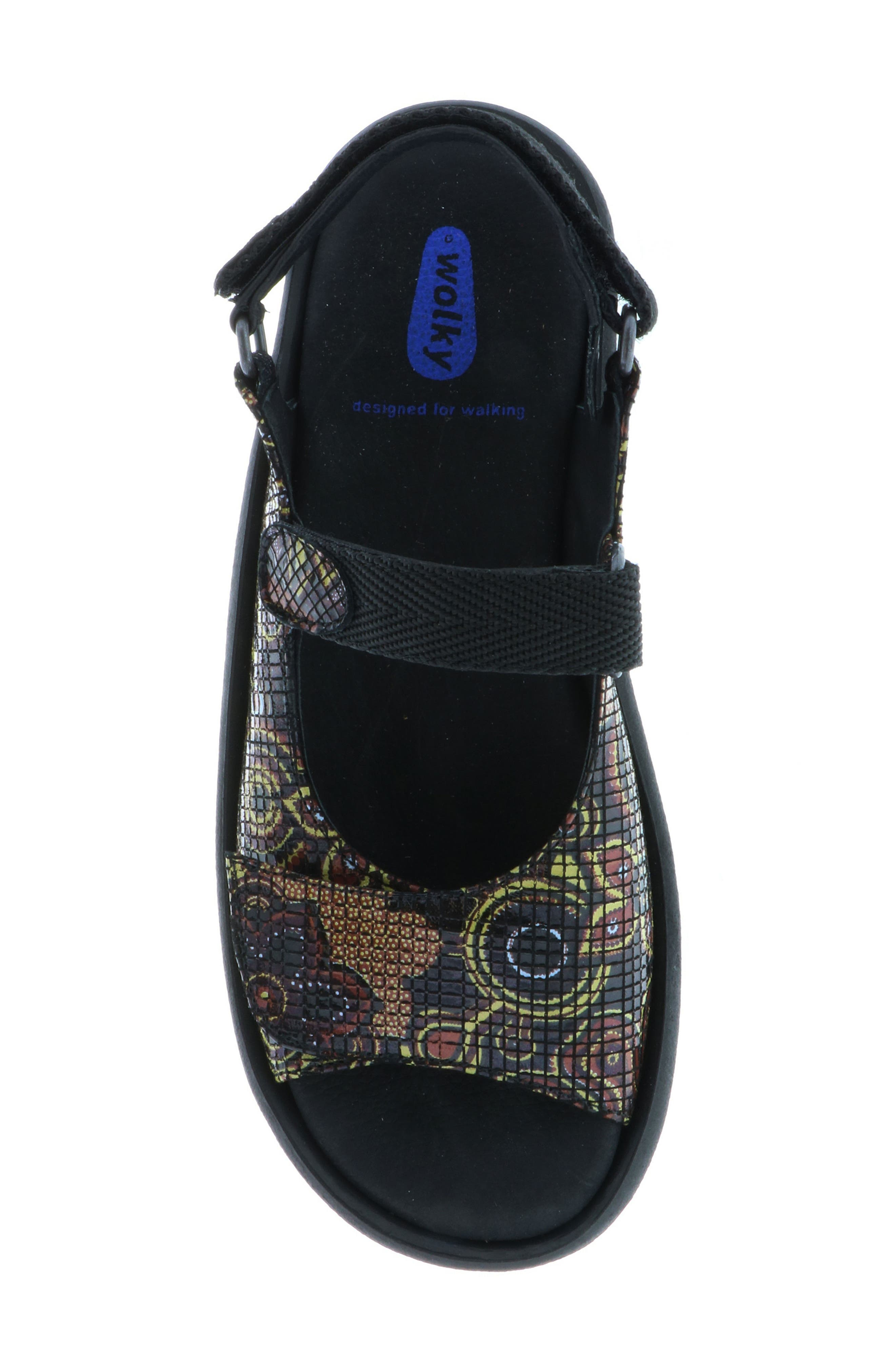 Jewel Sport Sandal,                             Alternate thumbnail 4, color,                             Black Flower Print