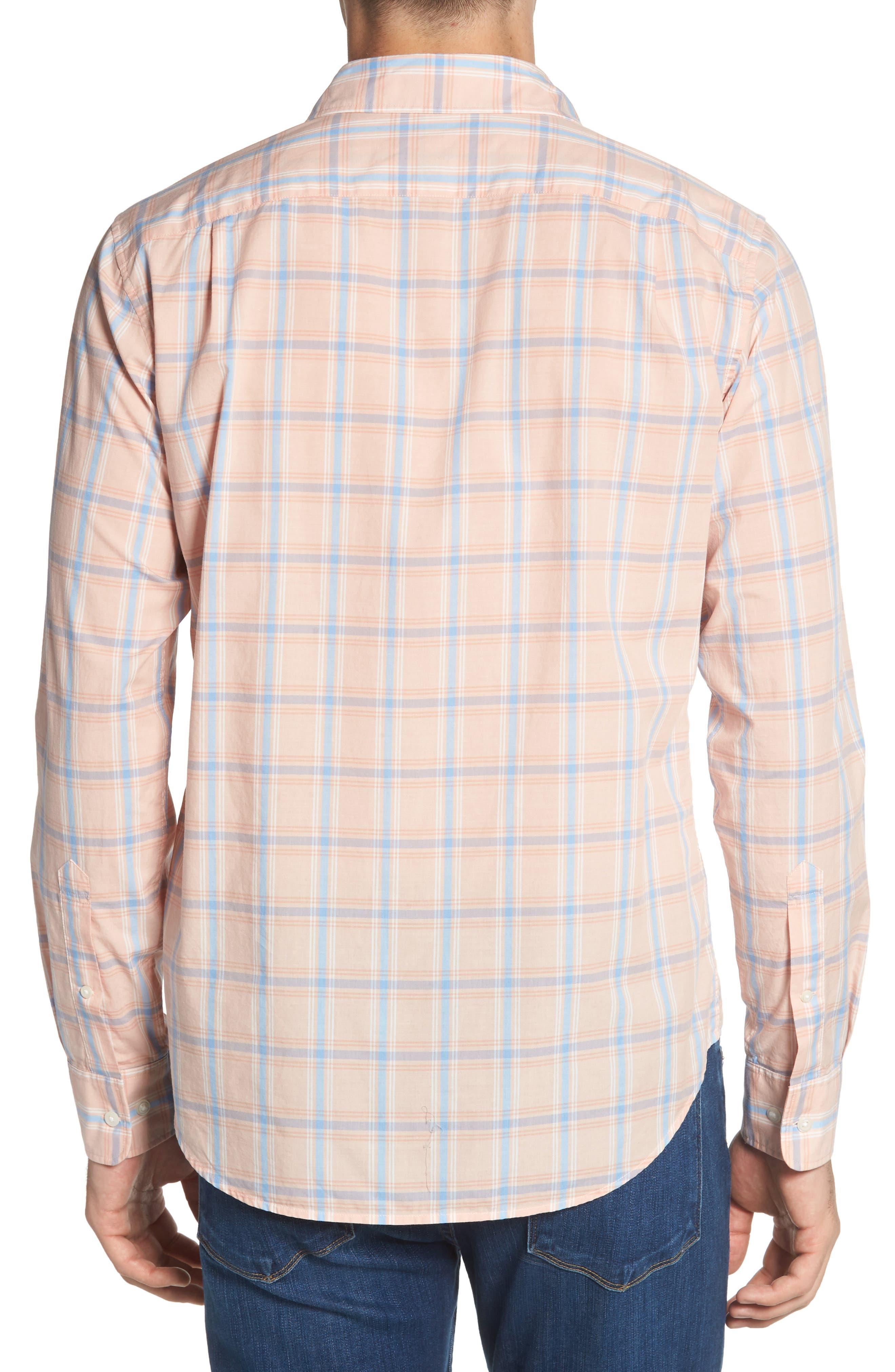 Summerweight Slim Fit Plaid Sport Shirt,                             Alternate thumbnail 4, color,                             Frida Peak Plaid - Sorbet