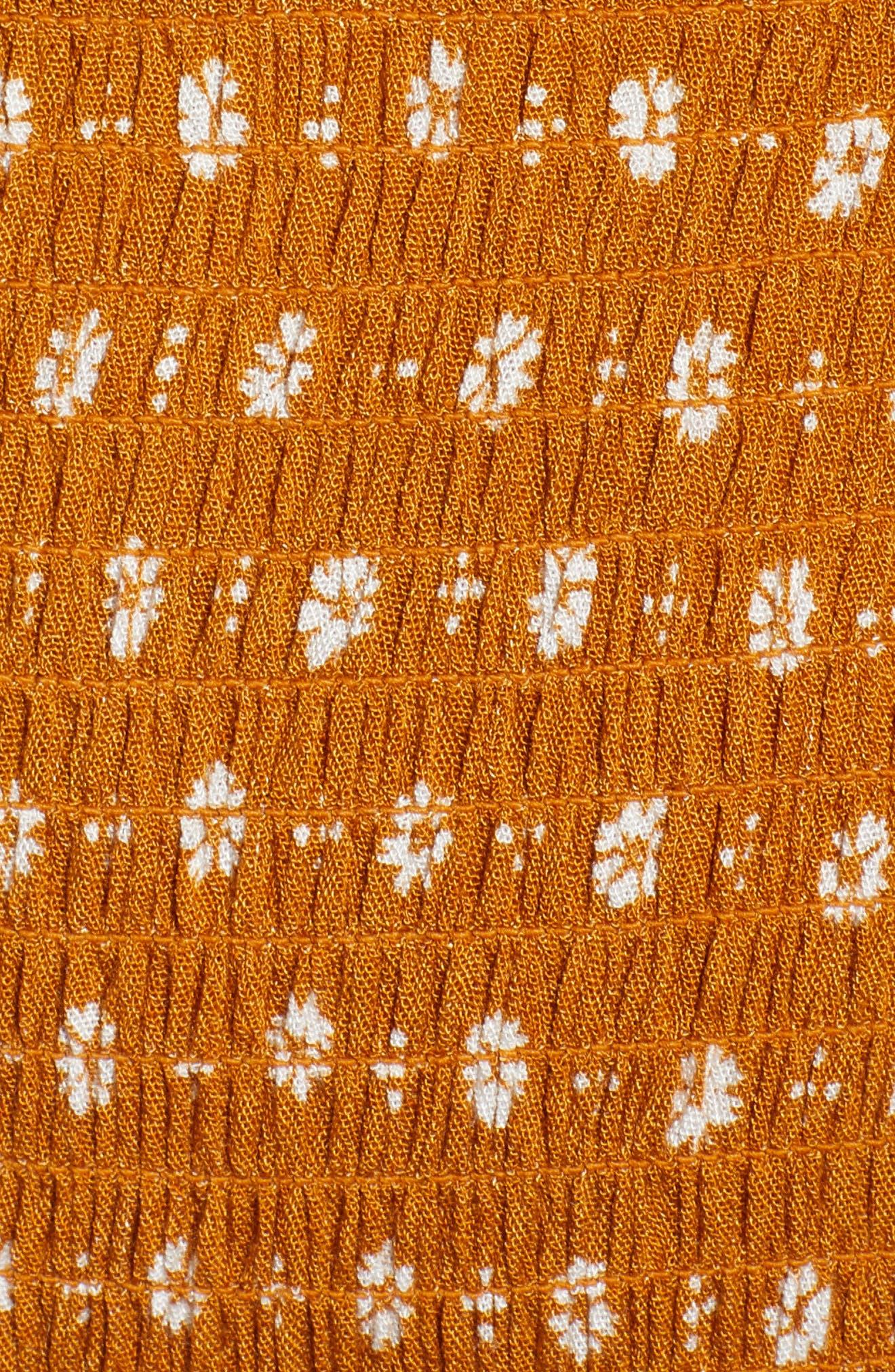 Smocked Off the Shoulder Romper,                             Alternate thumbnail 6, color,                             Mustard Floral