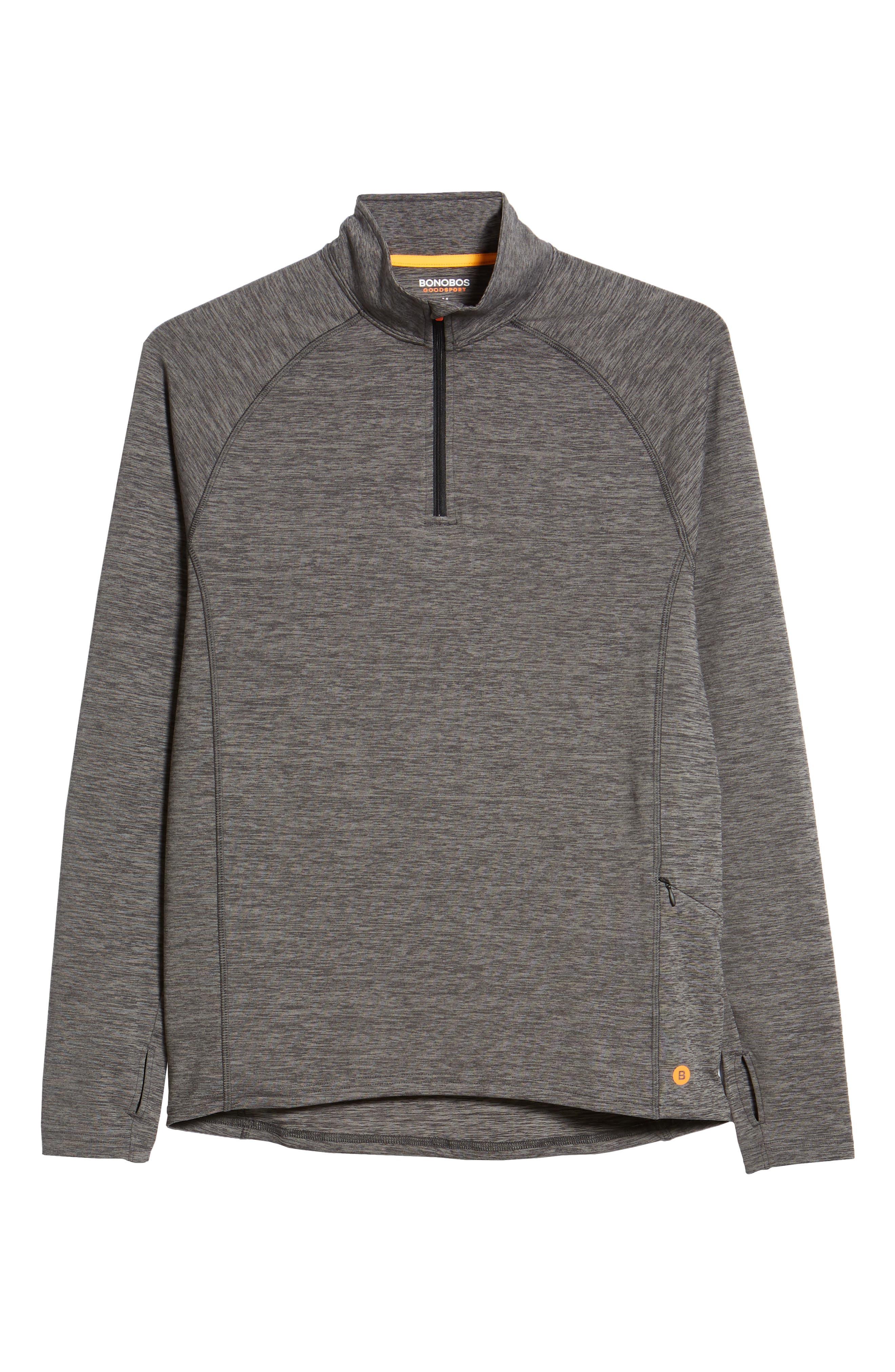 Core Half Zip Sweatshirt,                             Alternate thumbnail 6, color,                             Black Pepper Spacedye
