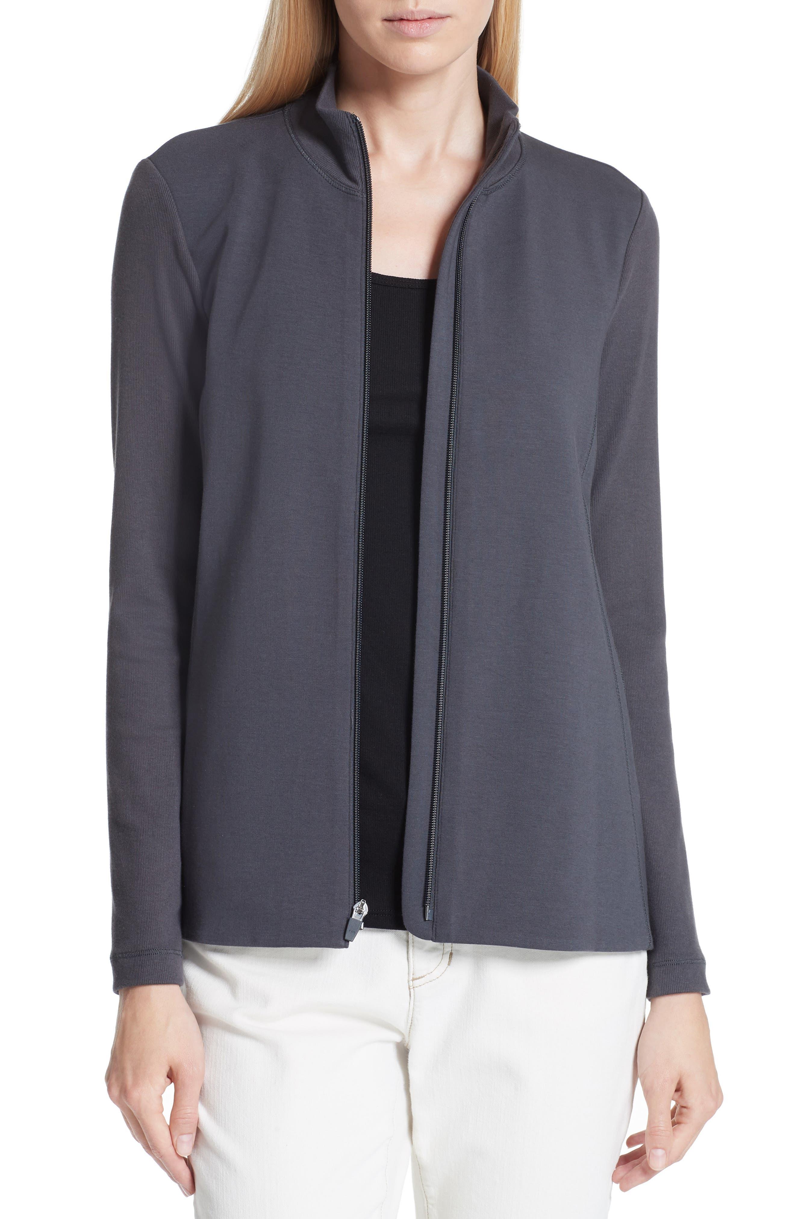Mixed Organic Cotton Stretch Knit Jacket,                             Main thumbnail 1, color,                             Graphite