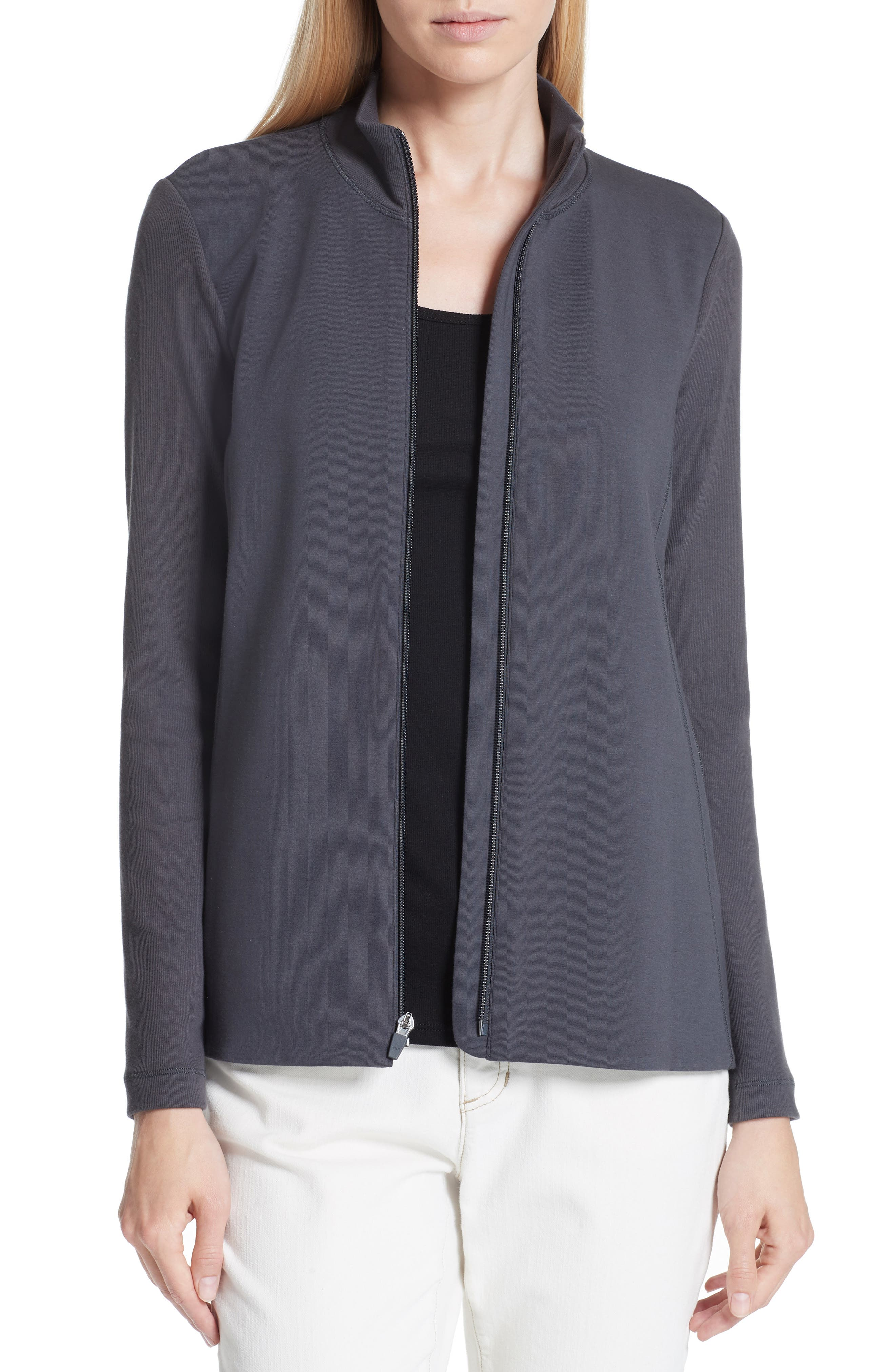 Mixed Organic Cotton Stretch Knit Jacket,                         Main,                         color, Graphite