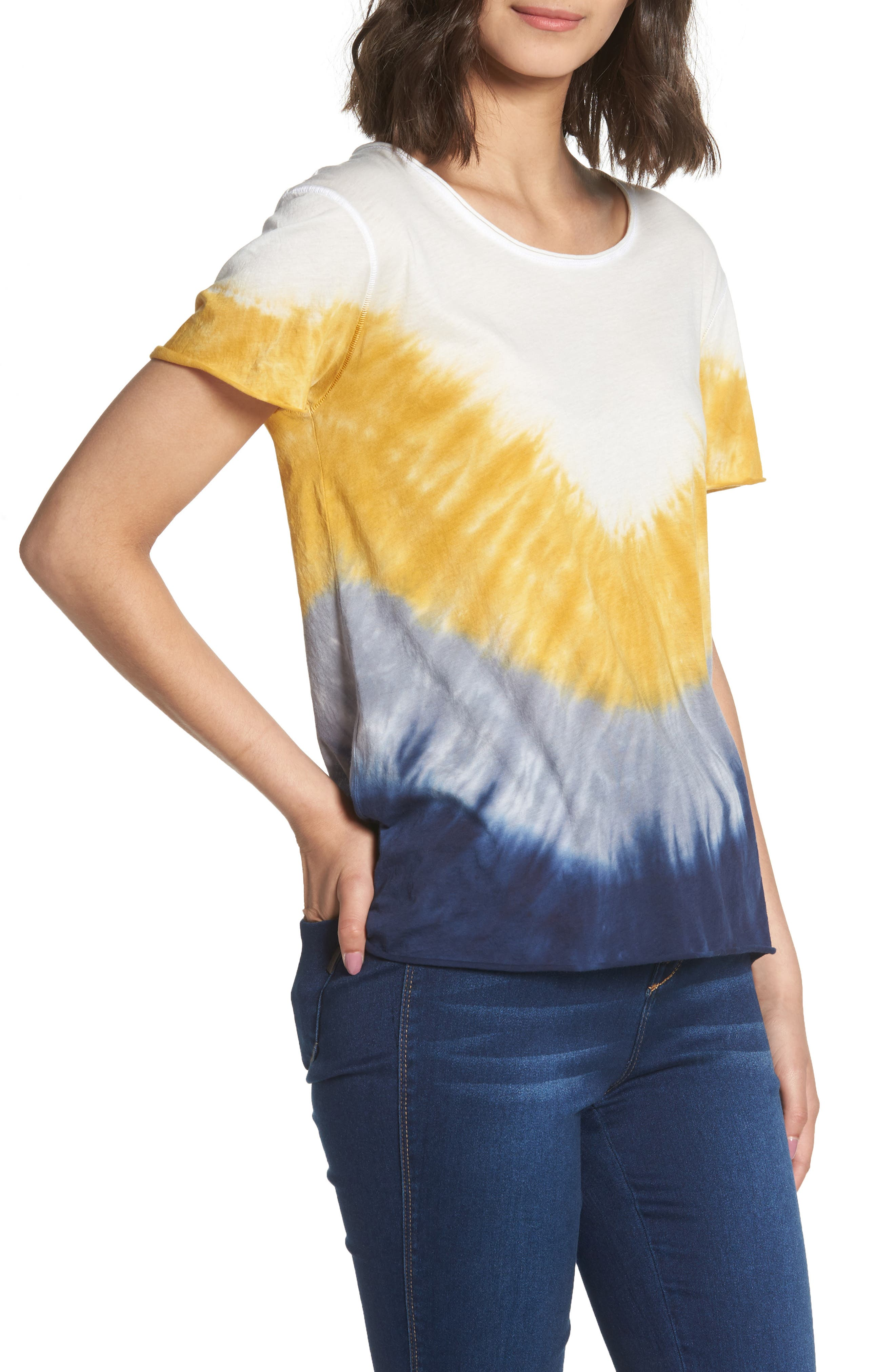 Tie Dye Tee,                         Main,                         color, Ivory/ Yellow/ Blue A/ S