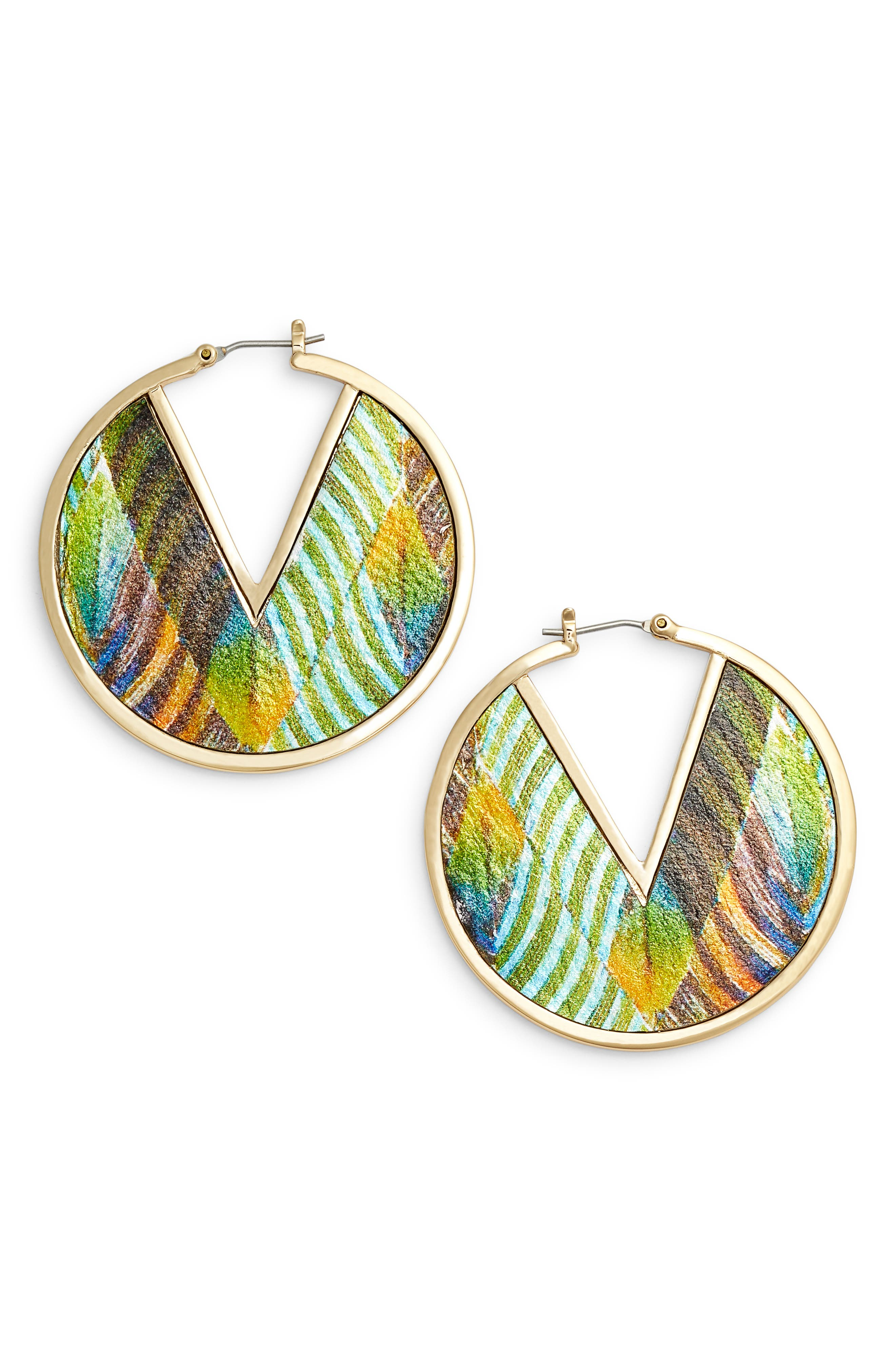 Vince Camuto Inlaid Leather Click Top Hoop Earrings