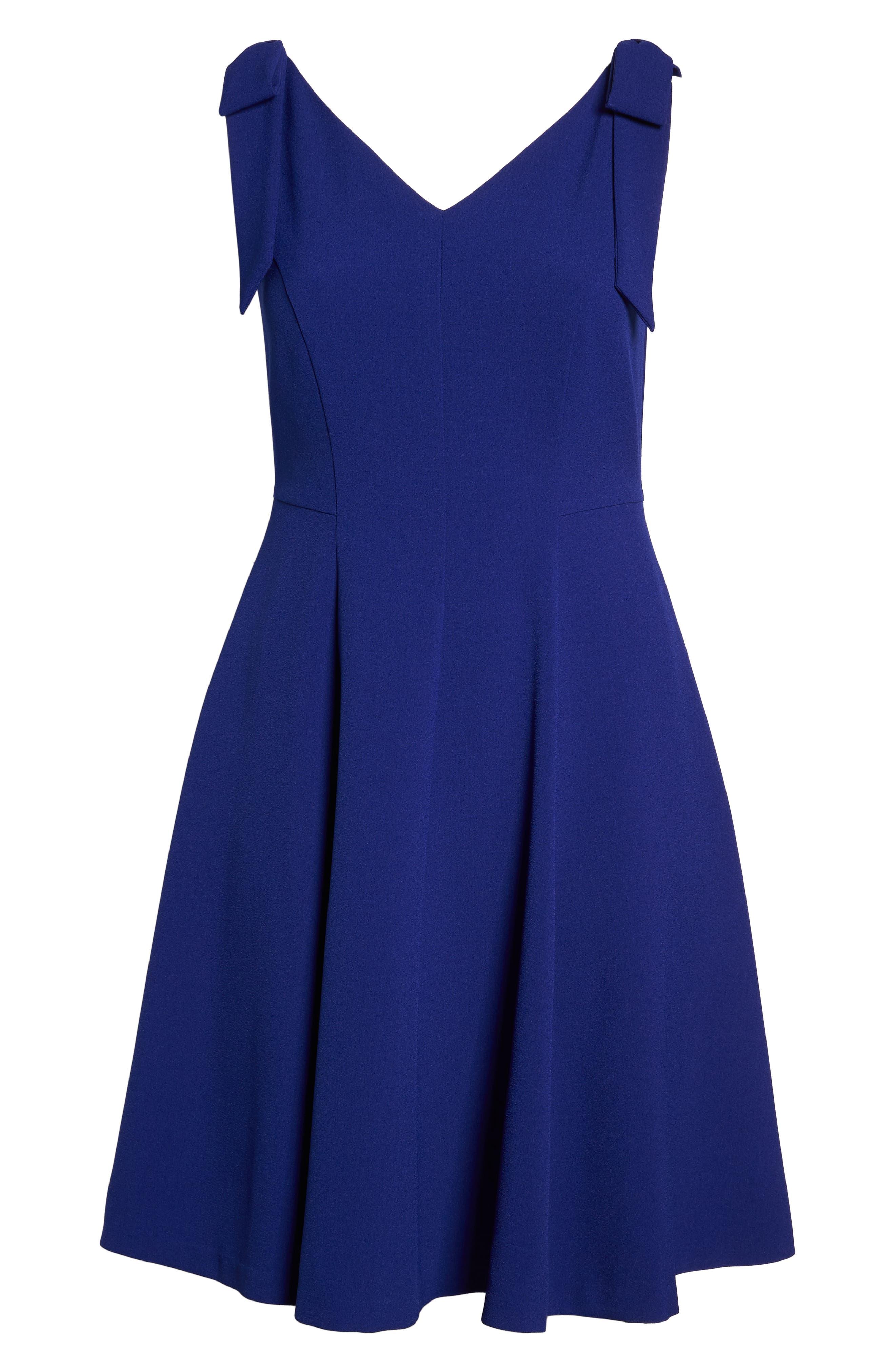 Tie-Shoulder Fit & Flare Dress,                             Alternate thumbnail 7, color,                             Cobalt