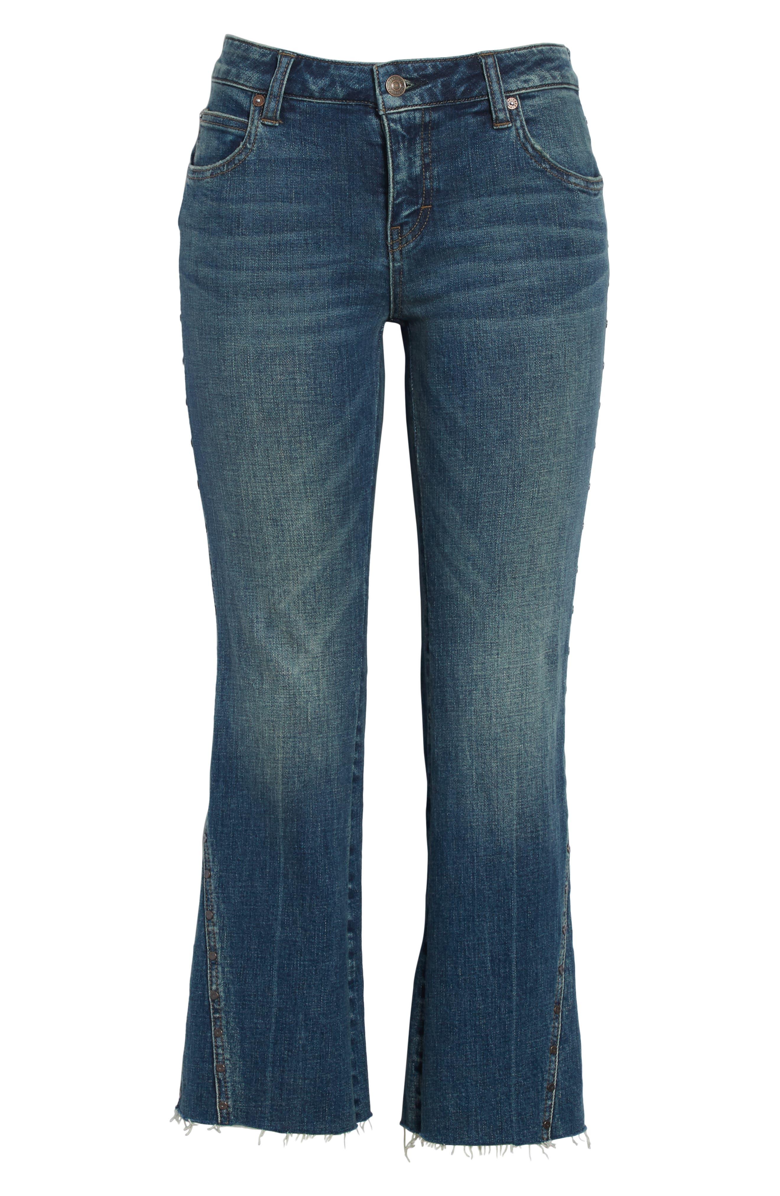 Studded Crop Flare Jeans,                             Alternate thumbnail 6, color,                             Dark Denim