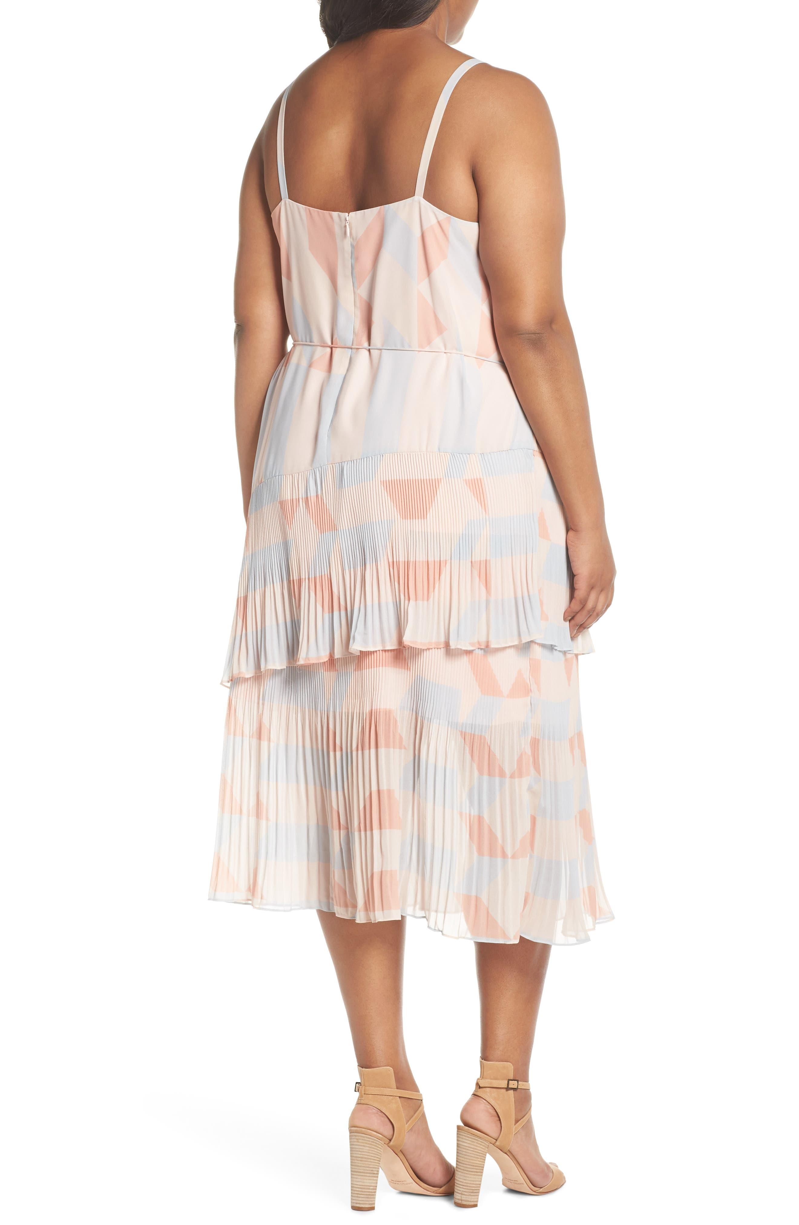Goldie Tassel Pleated Chiffon Midi Dress,                             Alternate thumbnail 2, color,                             Print