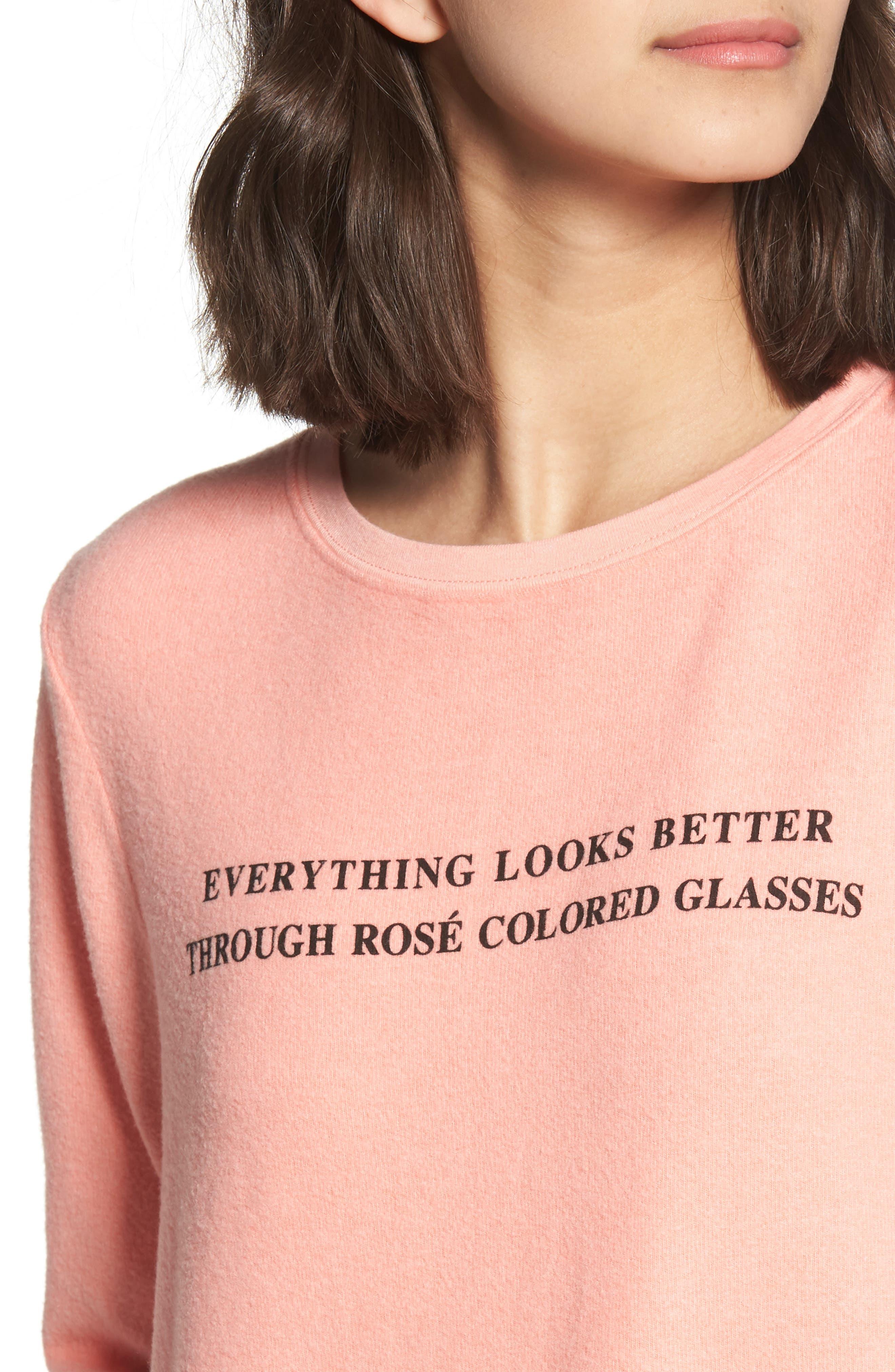 Rosé Glasses Beach Sweatshirt,                             Alternate thumbnail 4, color,                             Coral