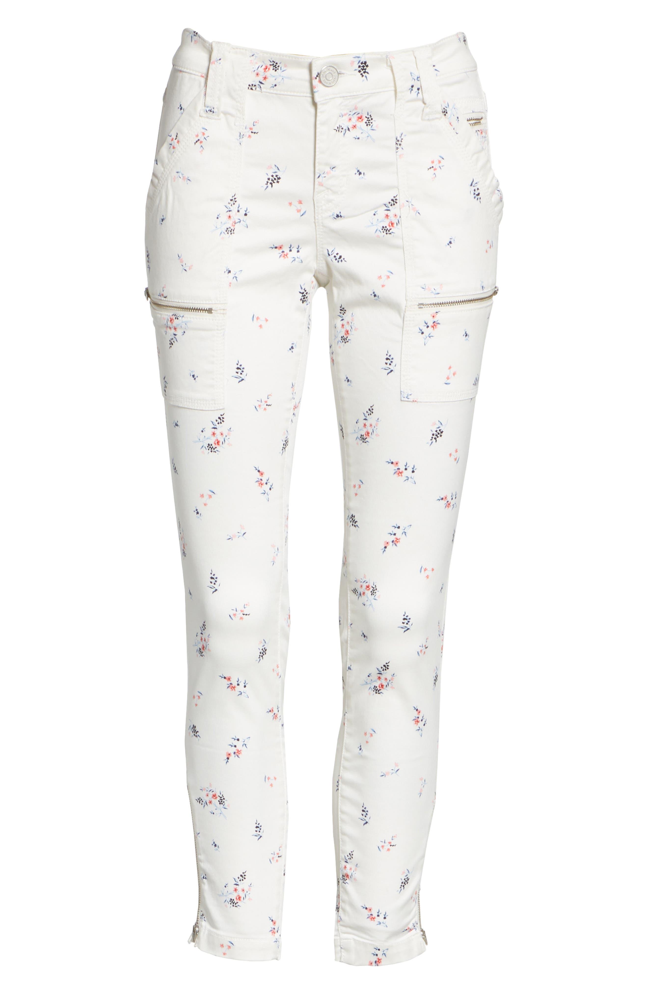 Park Floral Skinny Cargo Pants,                             Alternate thumbnail 6, color,                             Porcelain
