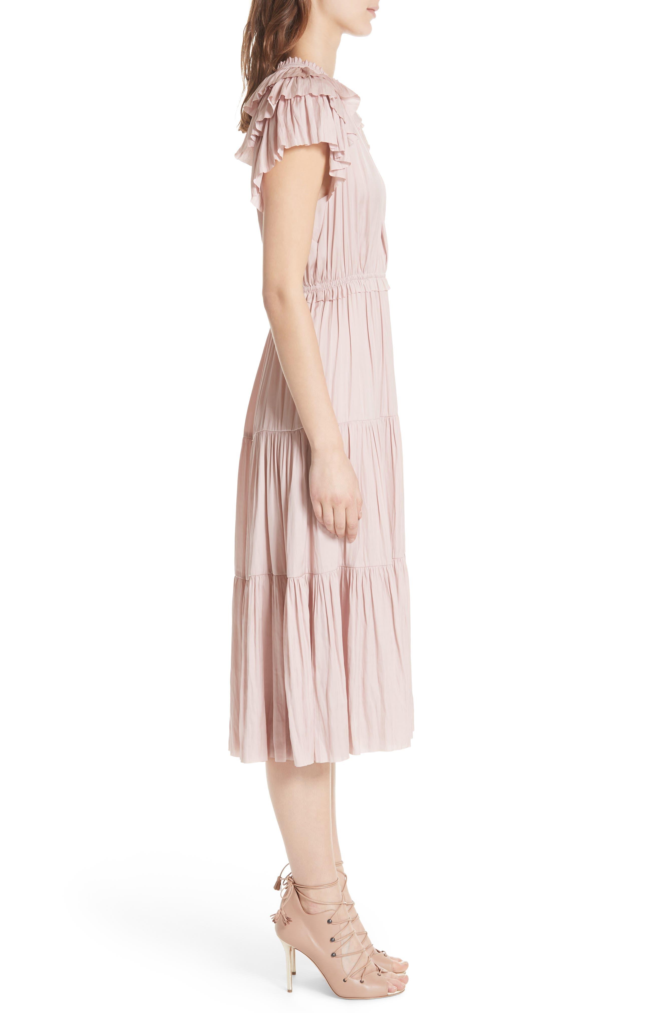 Blaire Satin Dress,                             Alternate thumbnail 3, color,                             Rose