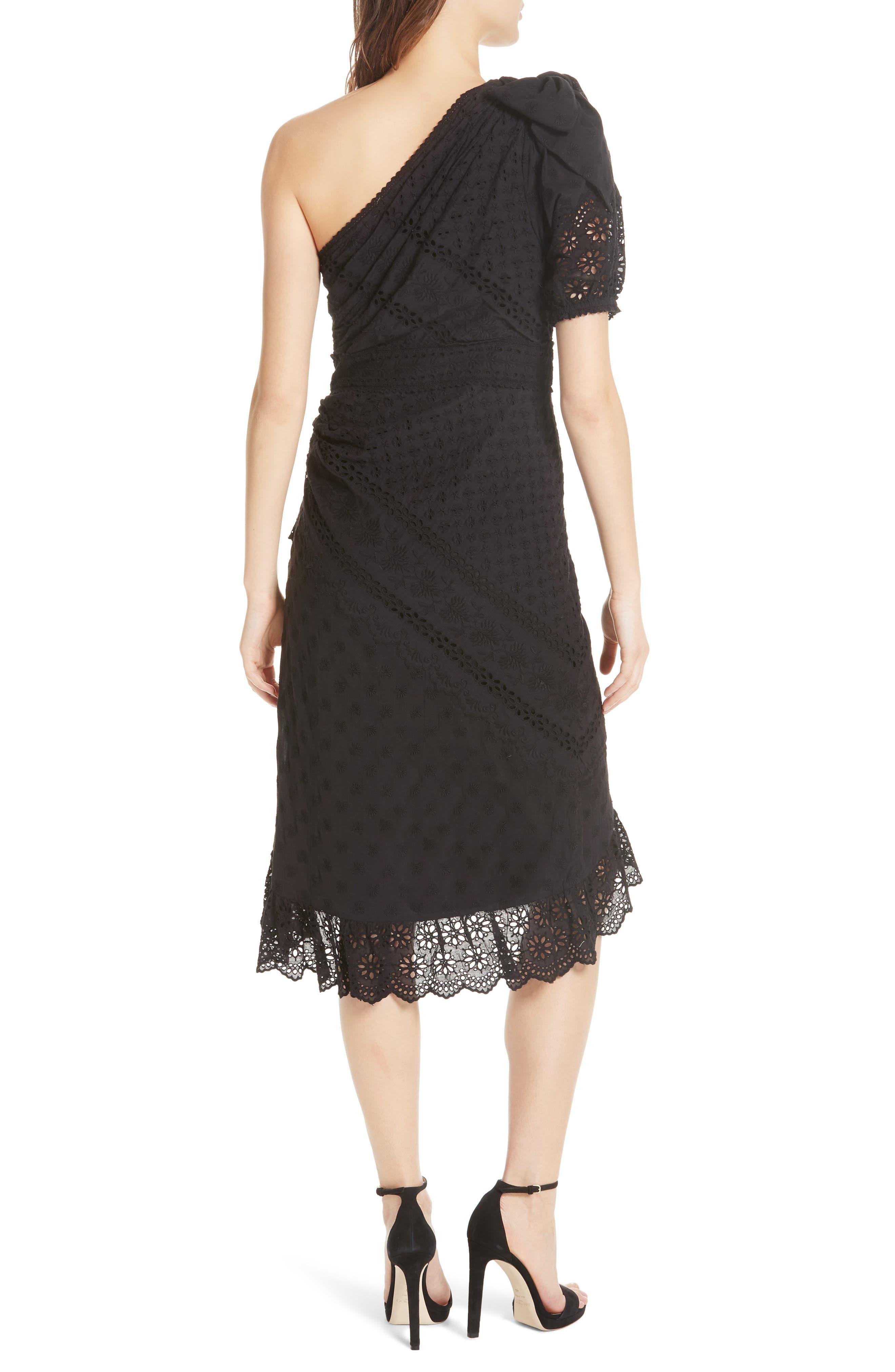 Gweneth One-Shoulder Dress,                             Alternate thumbnail 2, color,                             Noir
