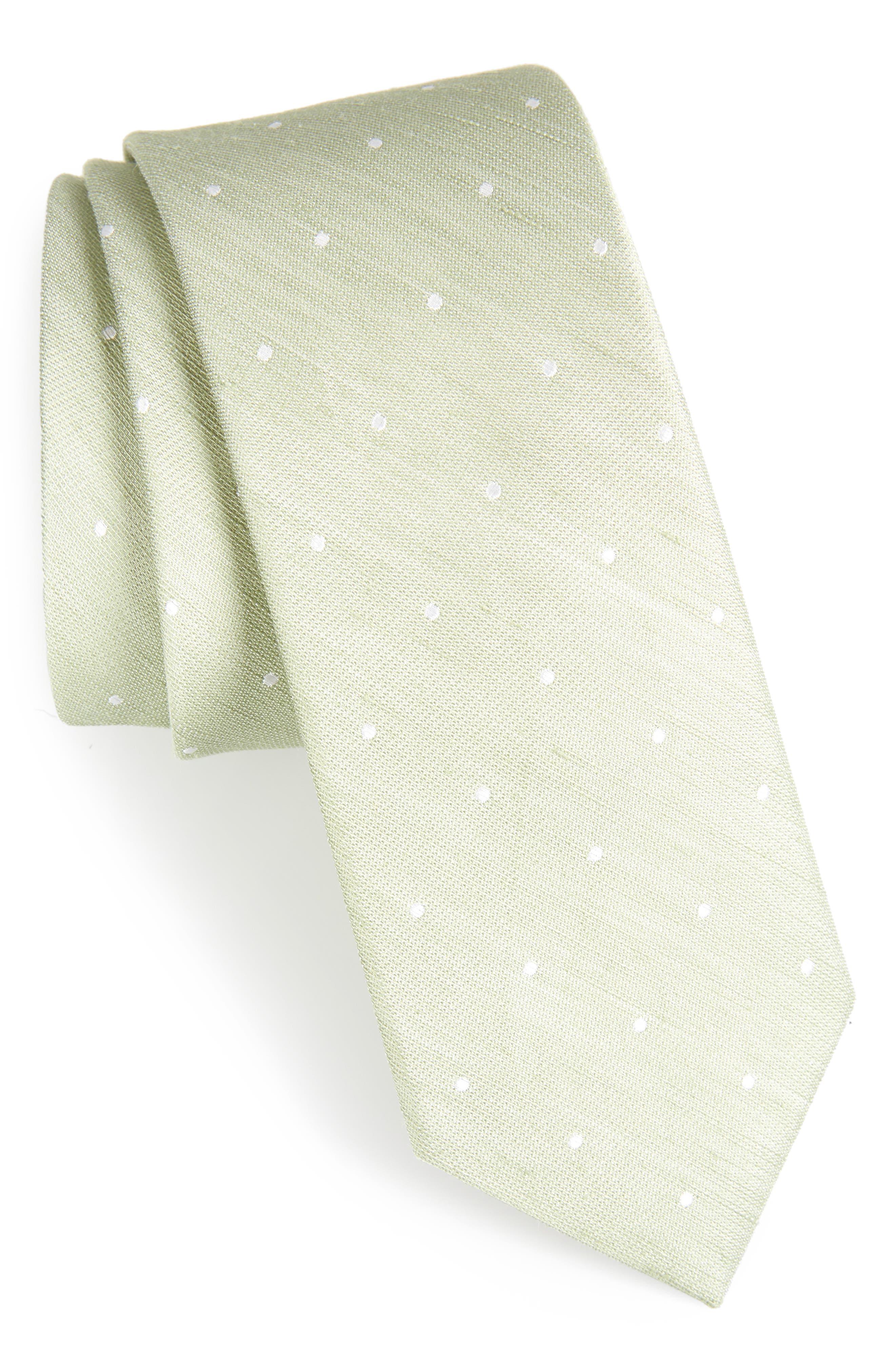 Bulletin Dot Silk & Linen Tie,                             Main thumbnail 1, color,                             Sage Green