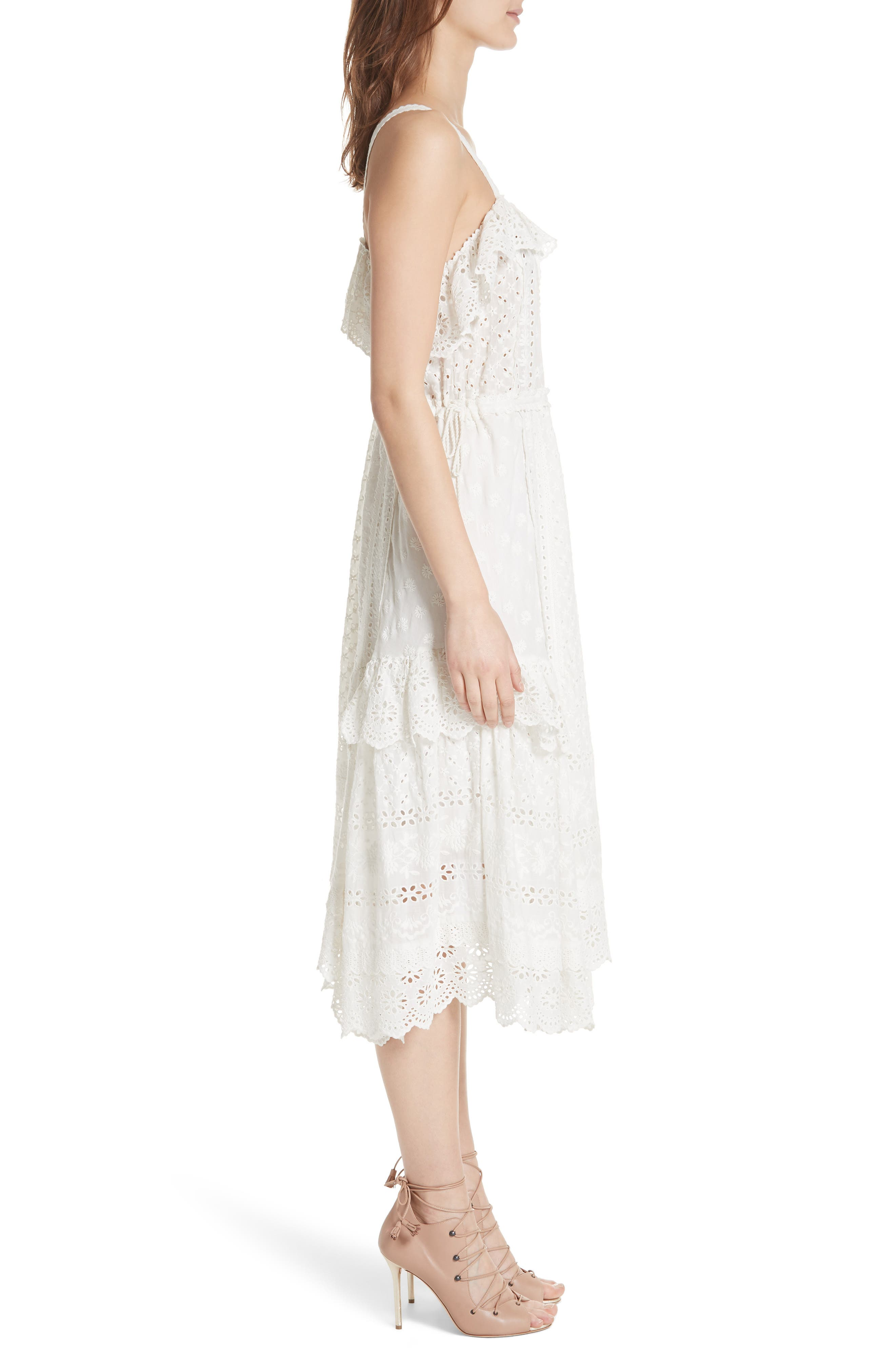 Edwina Eyelet Dress,                             Alternate thumbnail 3, color,                             Blanc