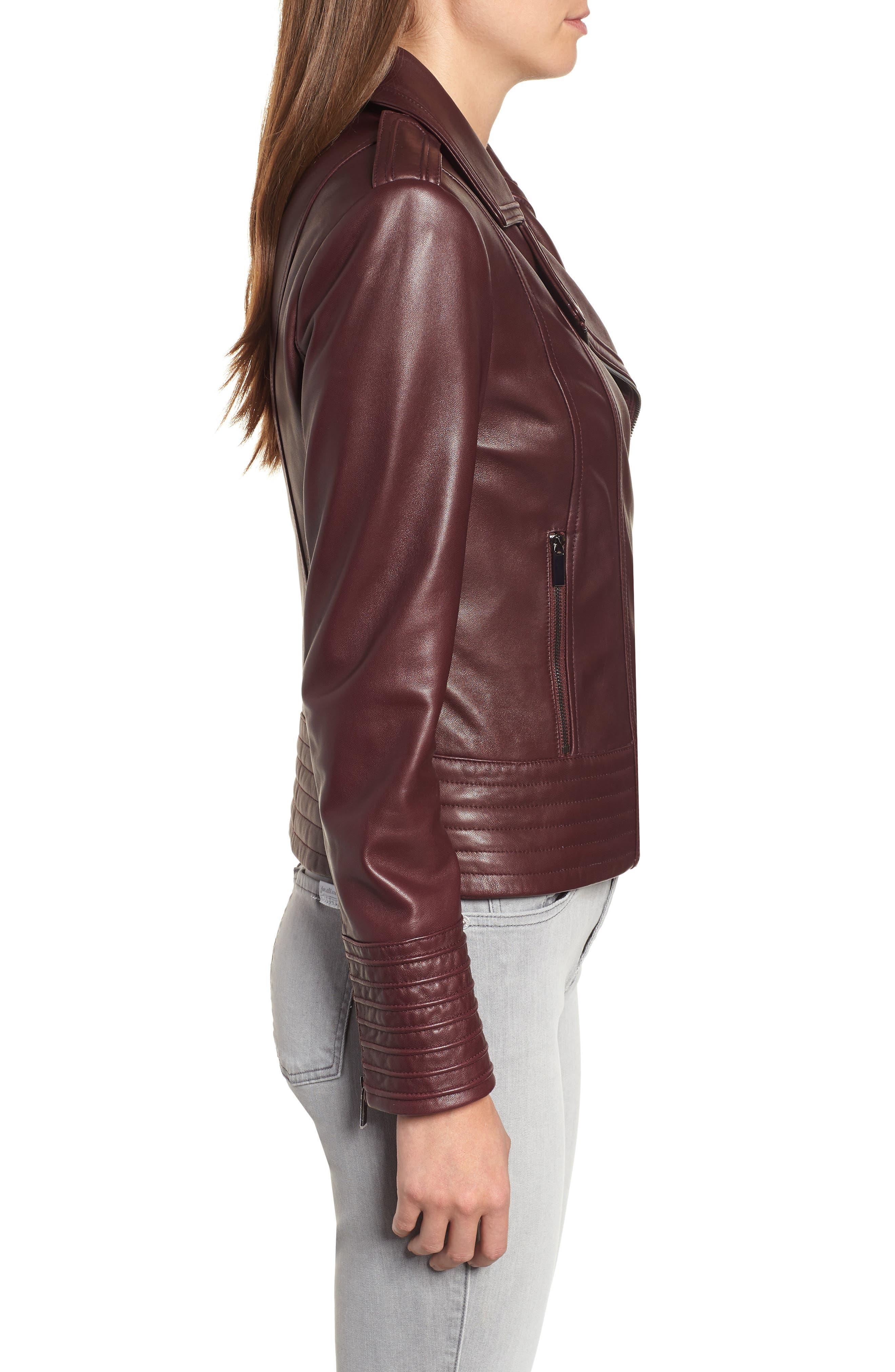 Gia Leather Biker Jacket,                             Alternate thumbnail 3, color,                             Burgundy