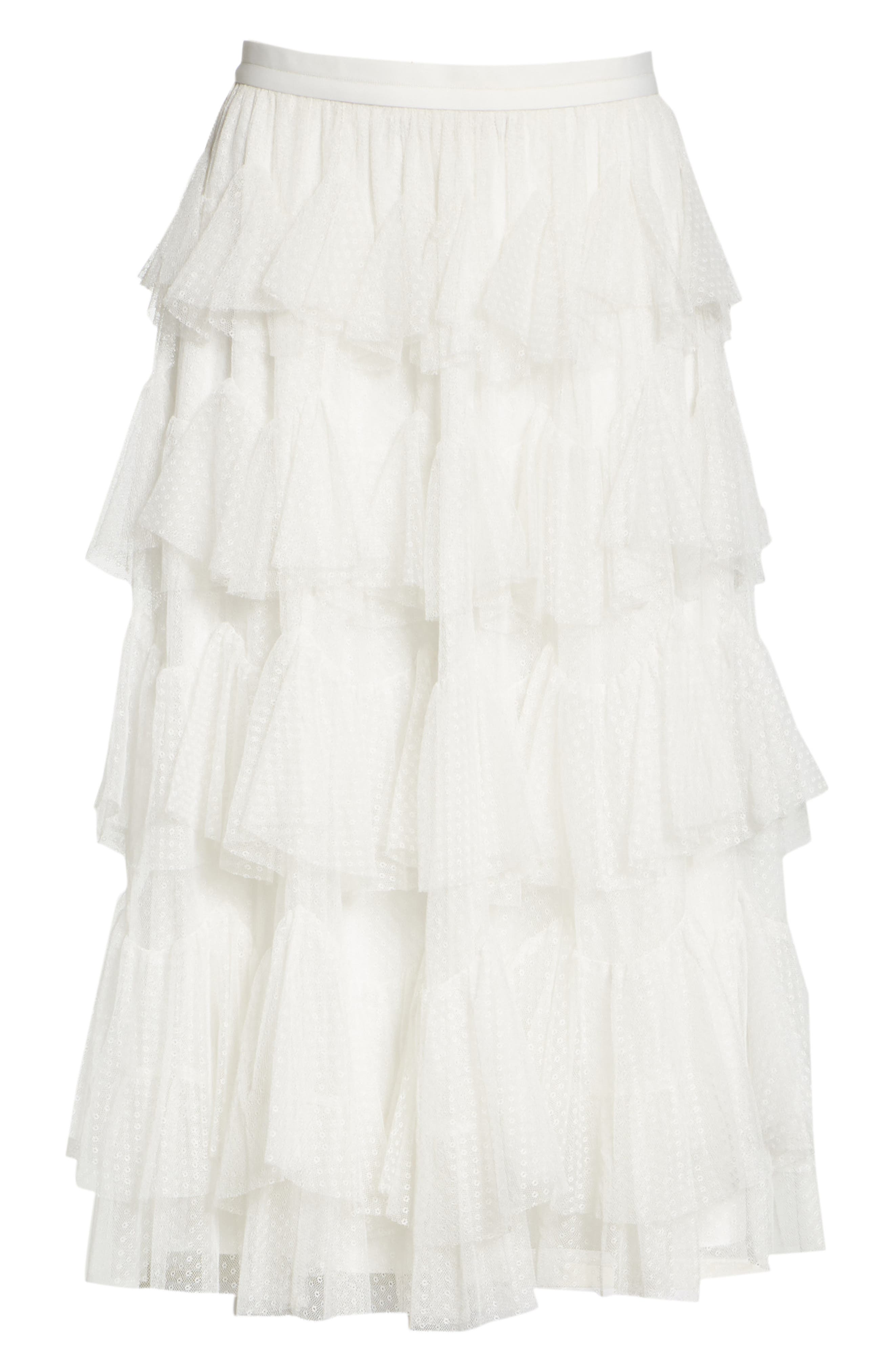 Tiered Tulle Skirt,                             Alternate thumbnail 6, color,                             Pearl