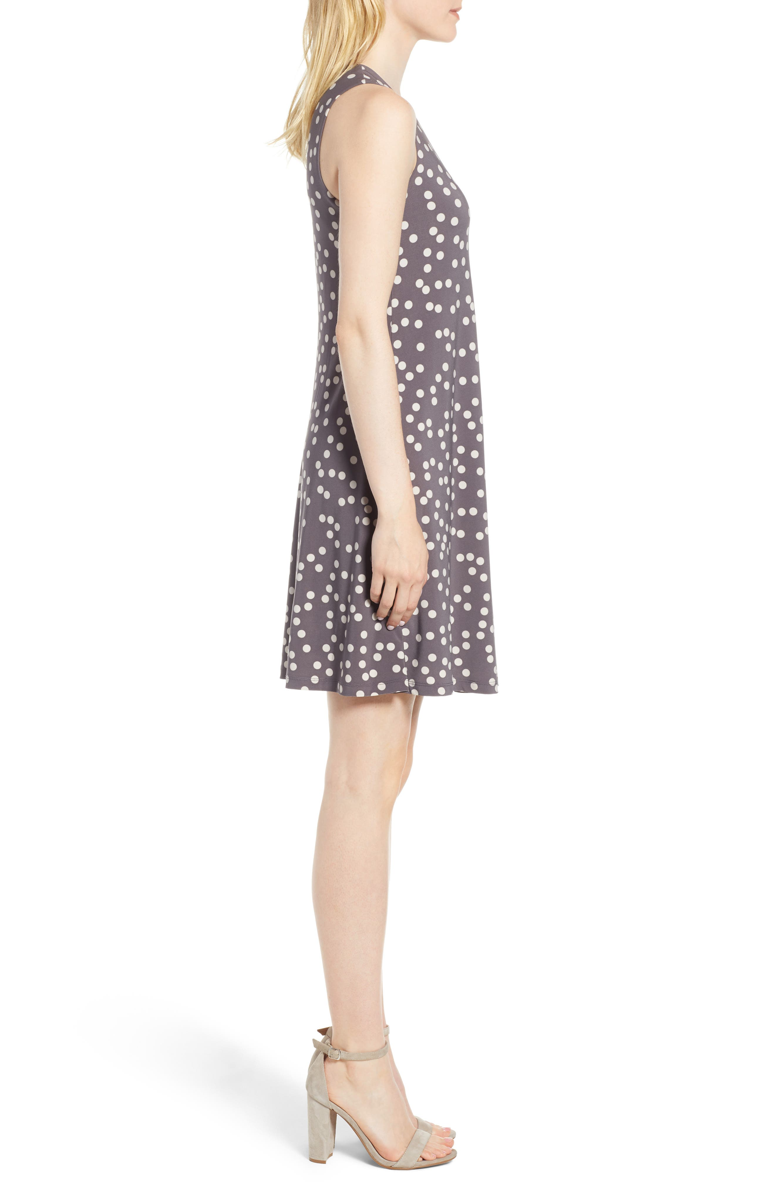 Dot Print Swing Dress,                             Alternate thumbnail 3, color,                             Nantucket Grey/ Oyster Shell