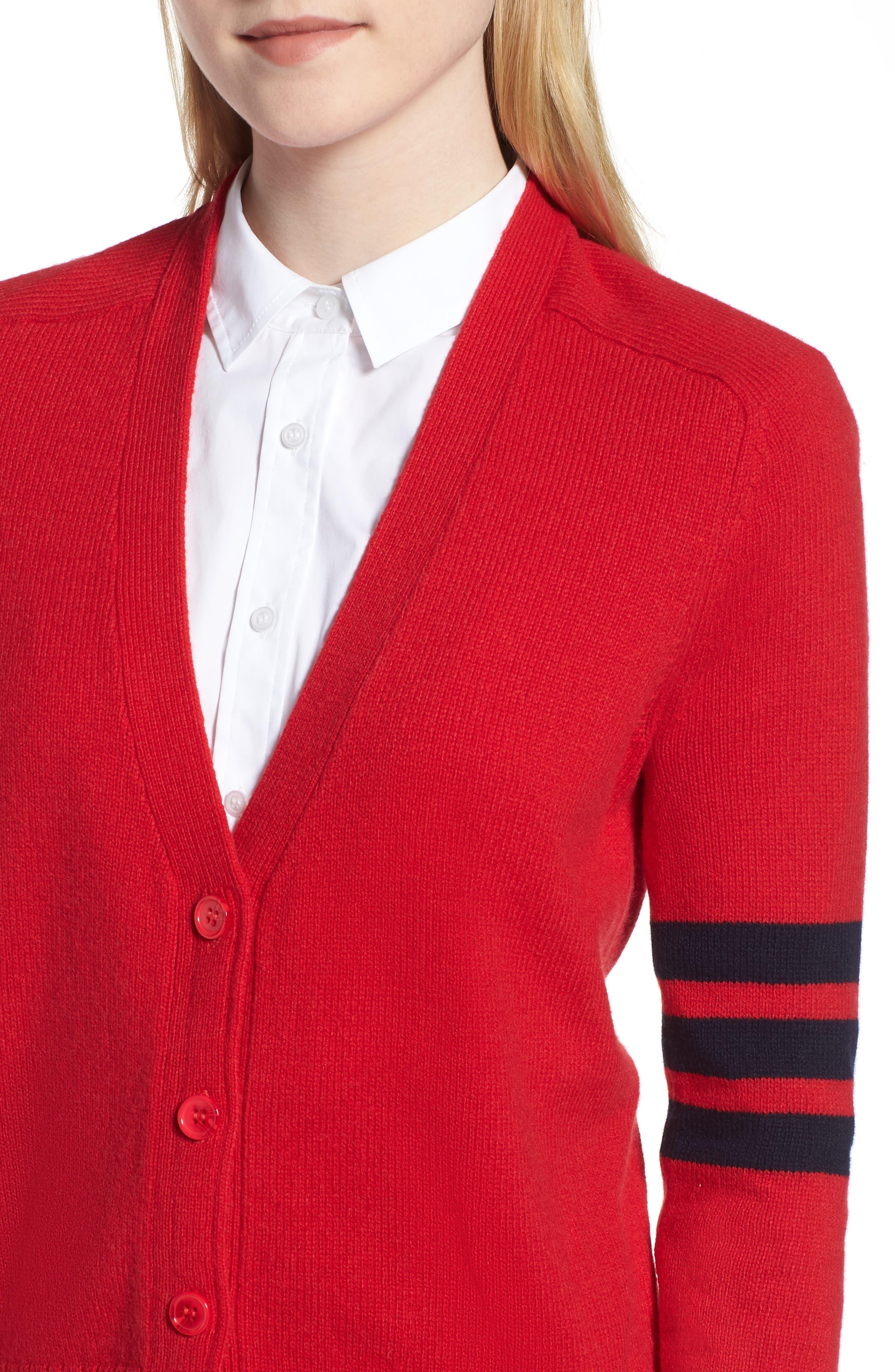 Preppy V-Neck Cardigan,                             Alternate thumbnail 4, color,                             Red- Navy Combo